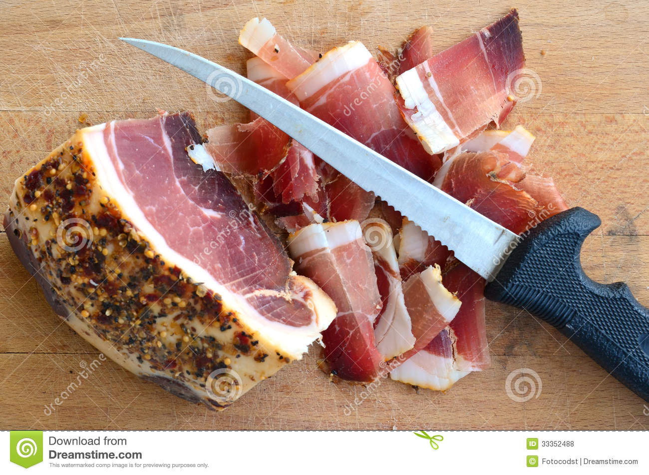 Homemade spicy proscuitto, smoked and dried in the wind for a long ...
