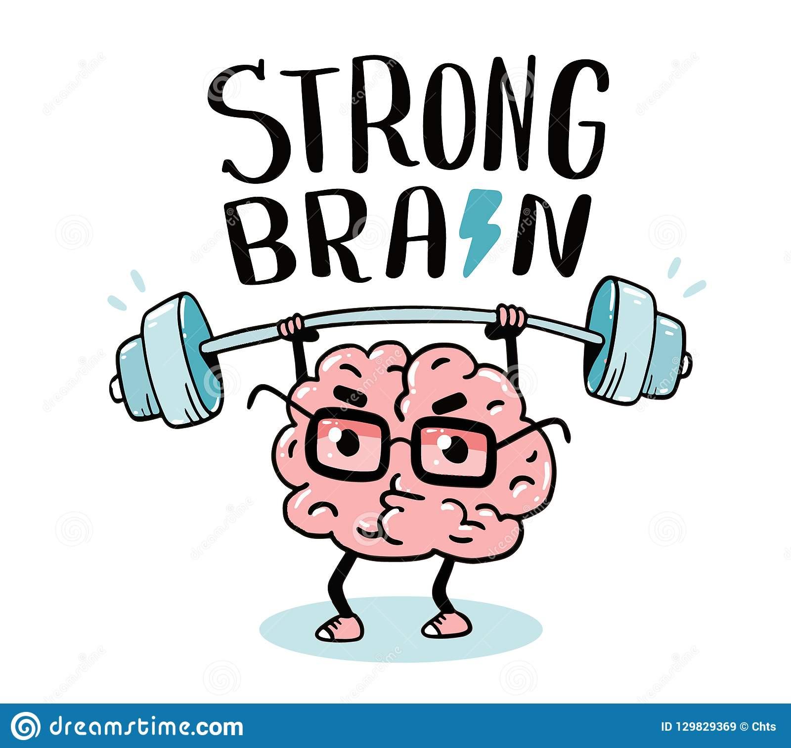 Very strong cartoon brain concept. Doodle style