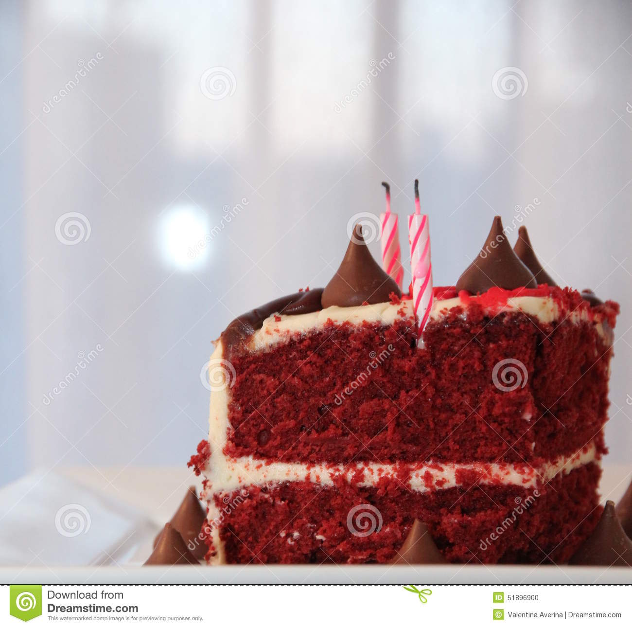 Very Tasty And Beautiful Cake With Candles Birthday Stock Photo