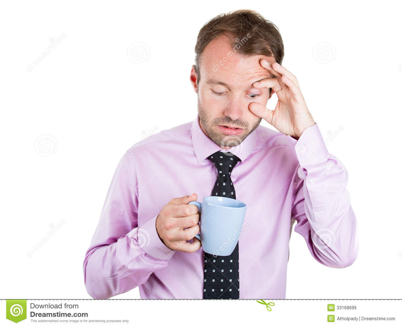 Very Tired Almost Falling Asleep Businessman Holding A