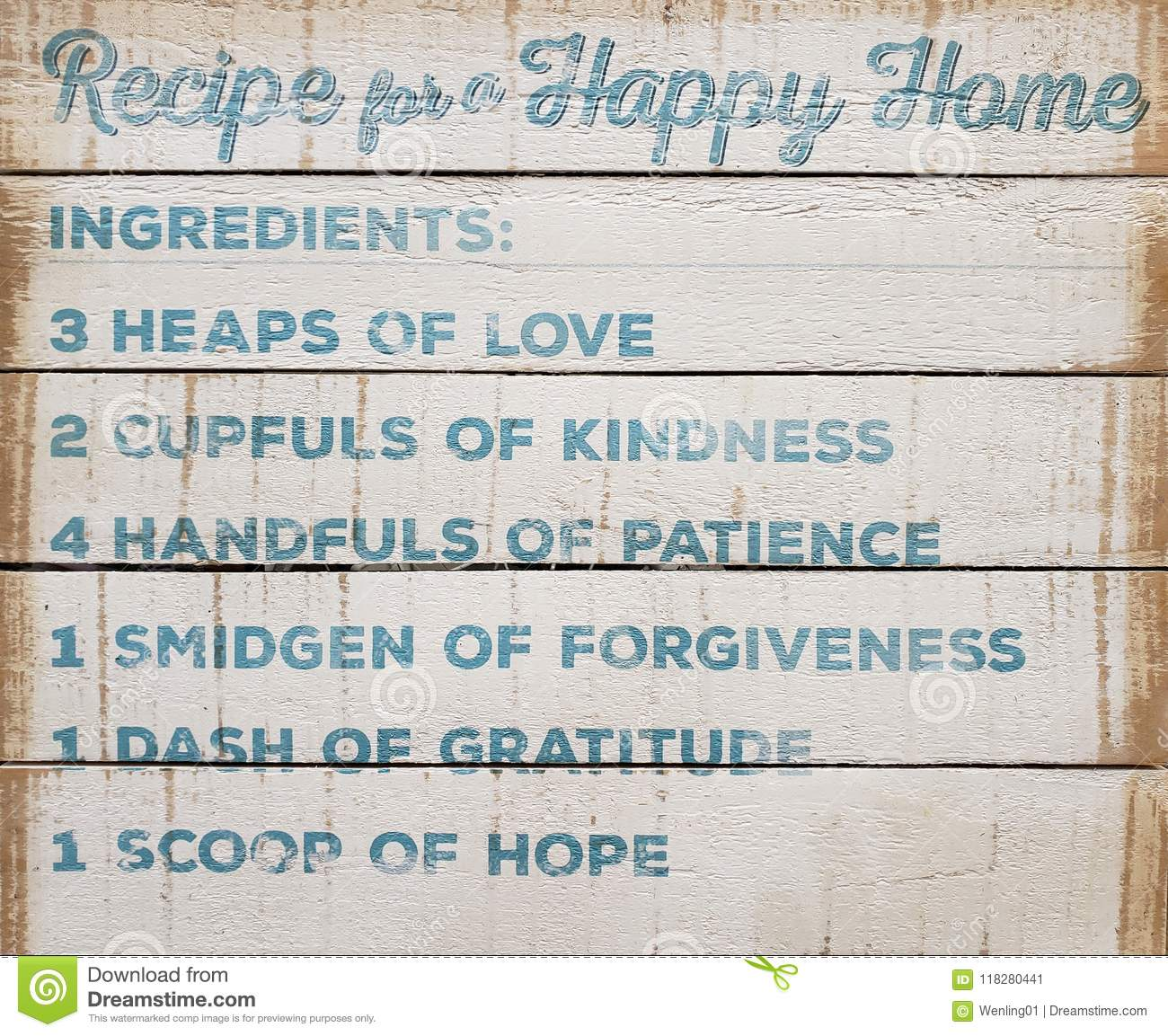 Very Useful Recipe For A Happy Home Stock Image Image Of