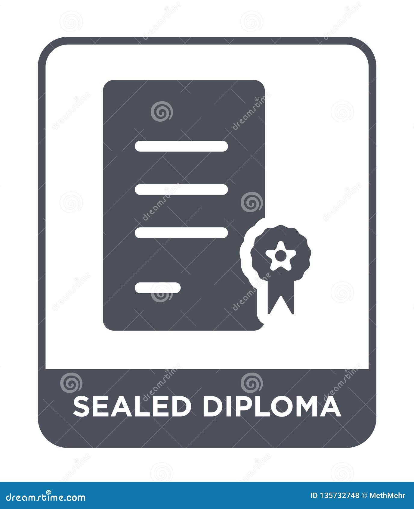 Verzegeld diplomapictogram in in ontwerpstijl Verzegeld die diplomapictogram op witte achtergrond wordt geïsoleerd verzegeld eenv