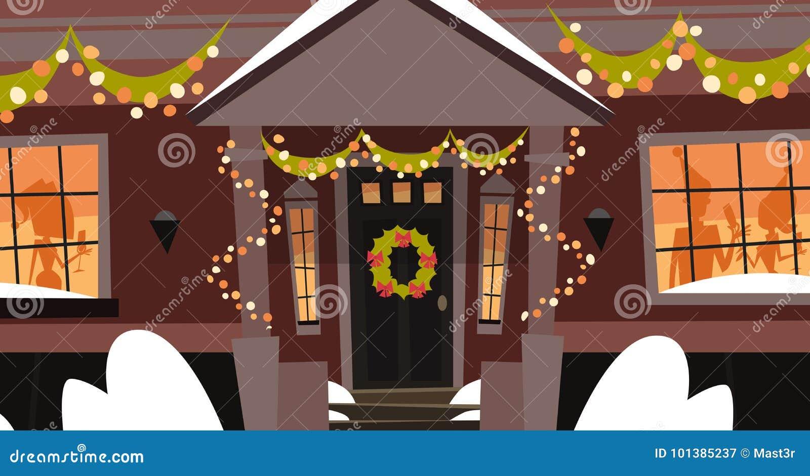 Verziertes Haus-Front Door With Wreath Winter-Feiertags-Errichten, frohe Weihnachten und guten Rutsch ins Neue Jahr-Konzept