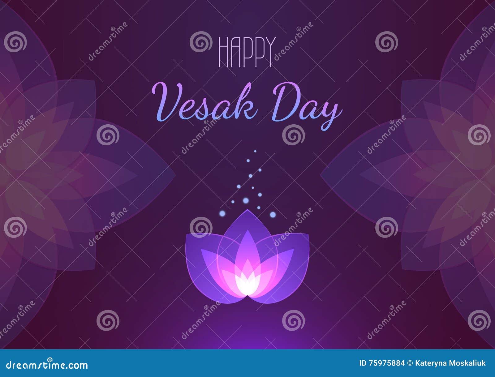 Vesak Day Background Horizontal Banner Vector Greeting Card Stock