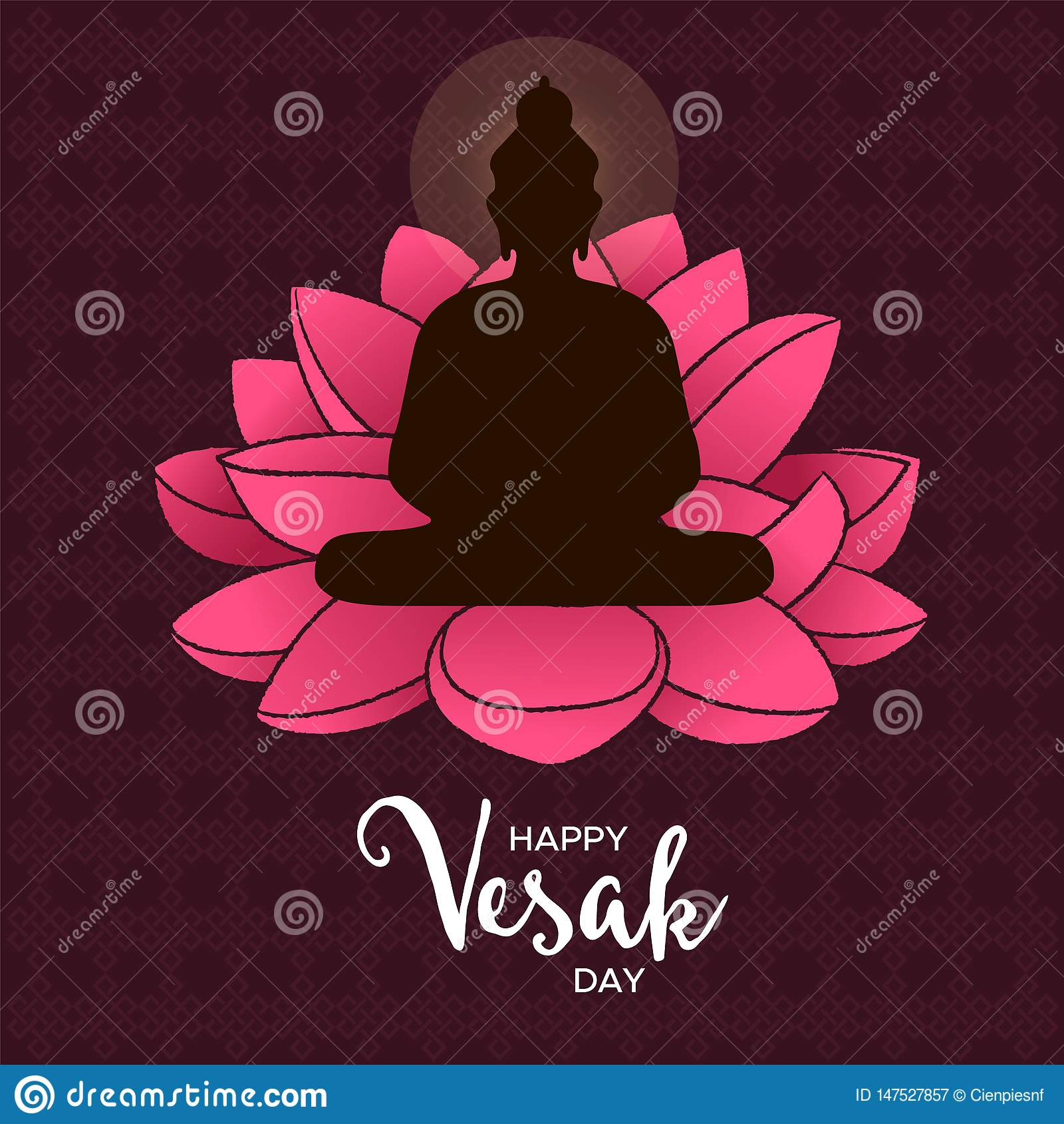 vesak day card of buddha and pink lotus flower stock vector