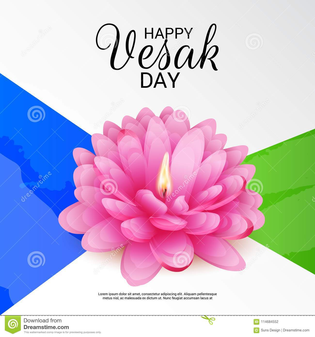 Vesak Day With Pink Lotus Flower Stock Illustration Illustration