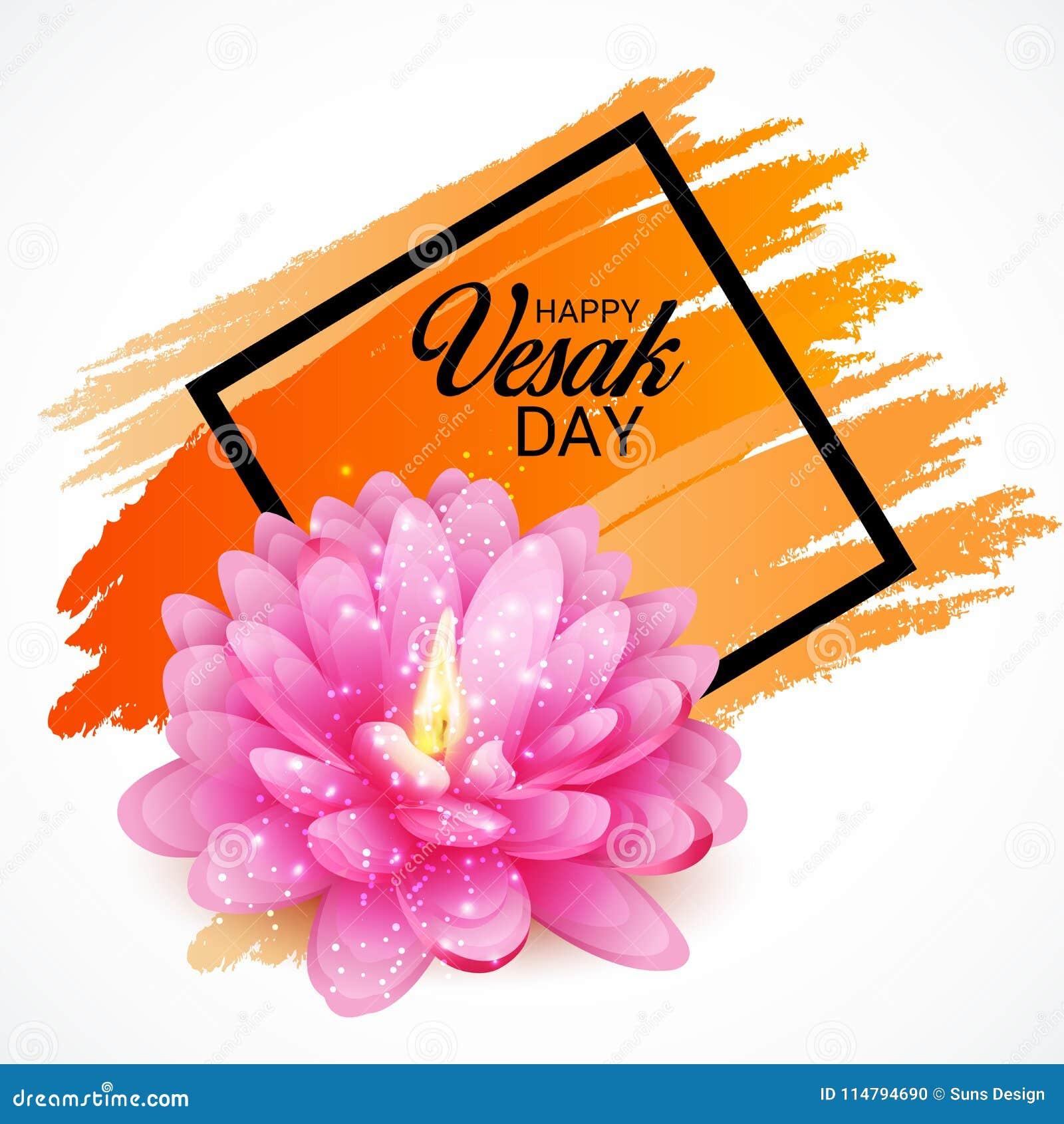 Vesak Day With Pink Lotus Flower Stock Illustration Illustration