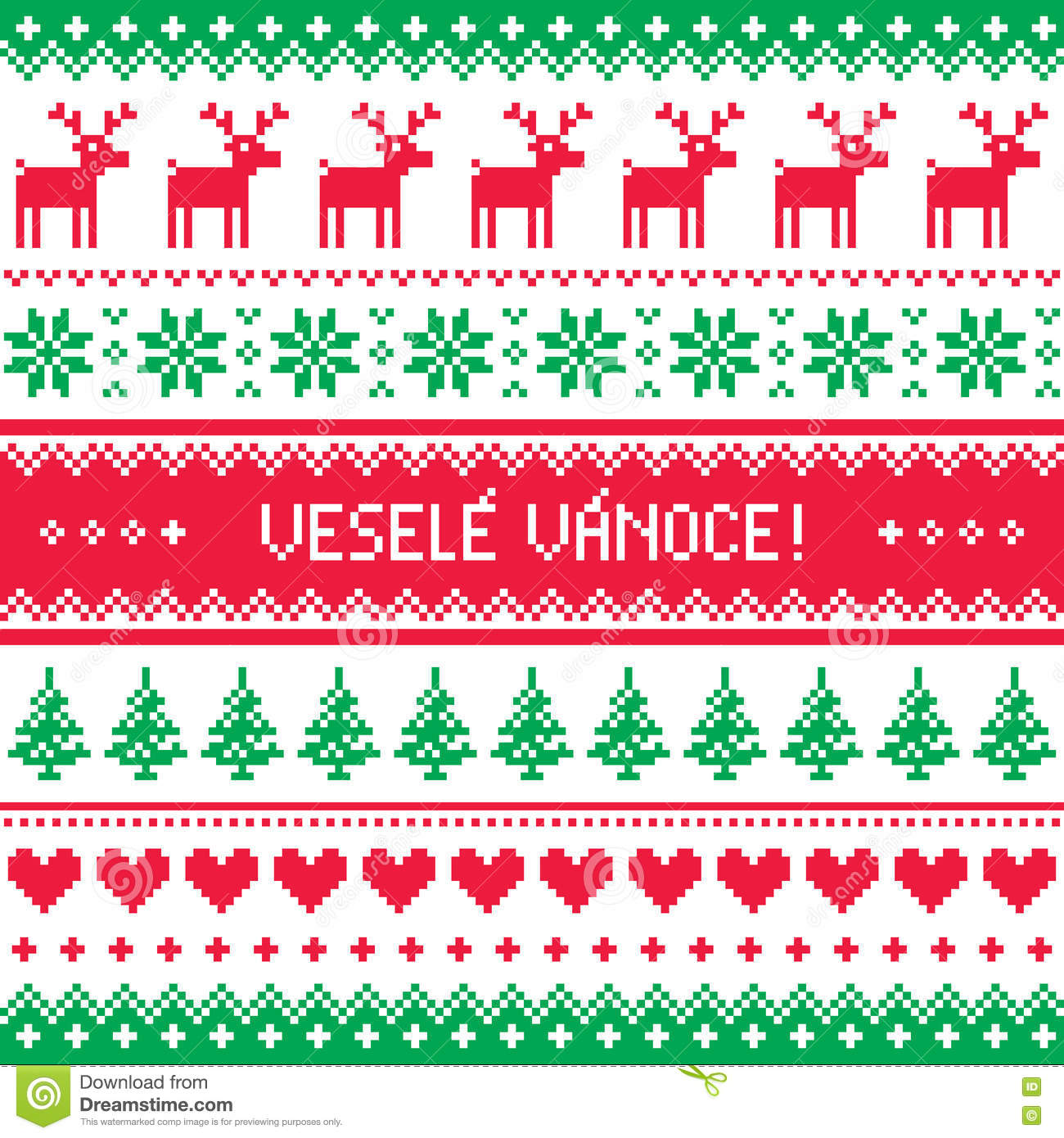 Vesele Vanoce Greetings Card Merry Christmas In Czech Stock