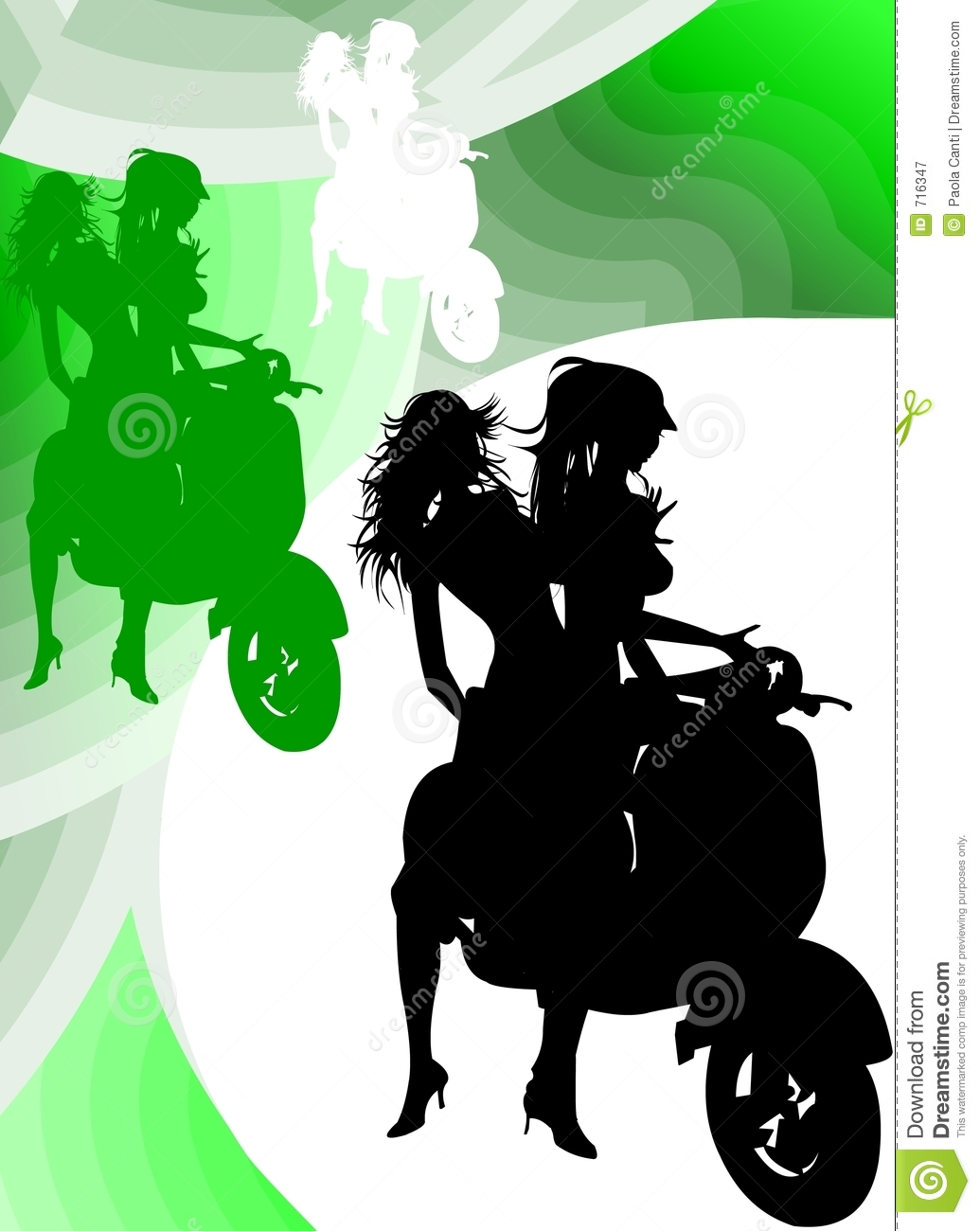 Vespa Girl Silhouette stock illustration  Illustration of