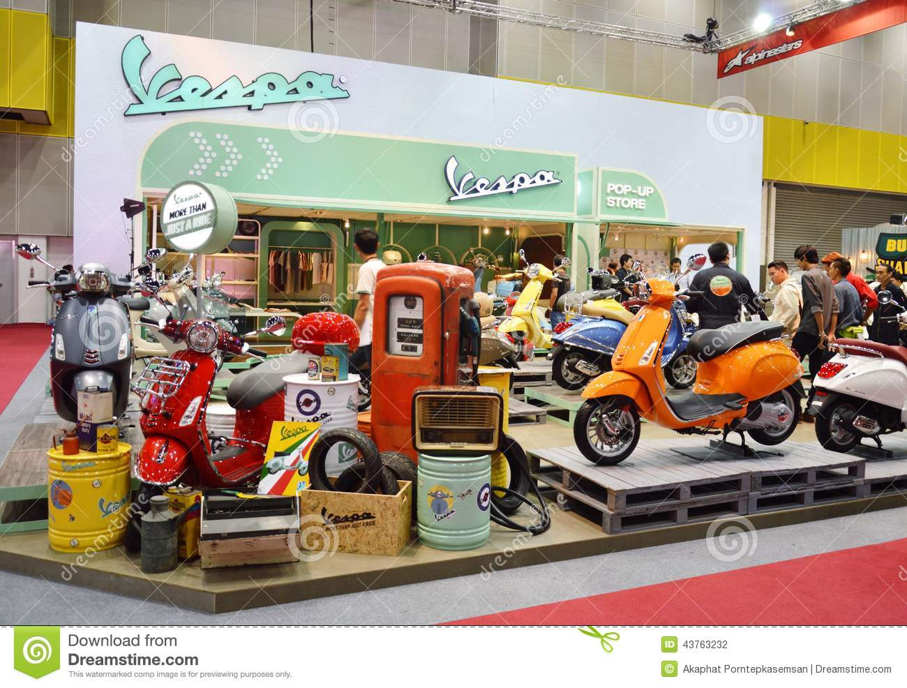 Vespa motor scooter booth editorial photography  Image of motorcycle