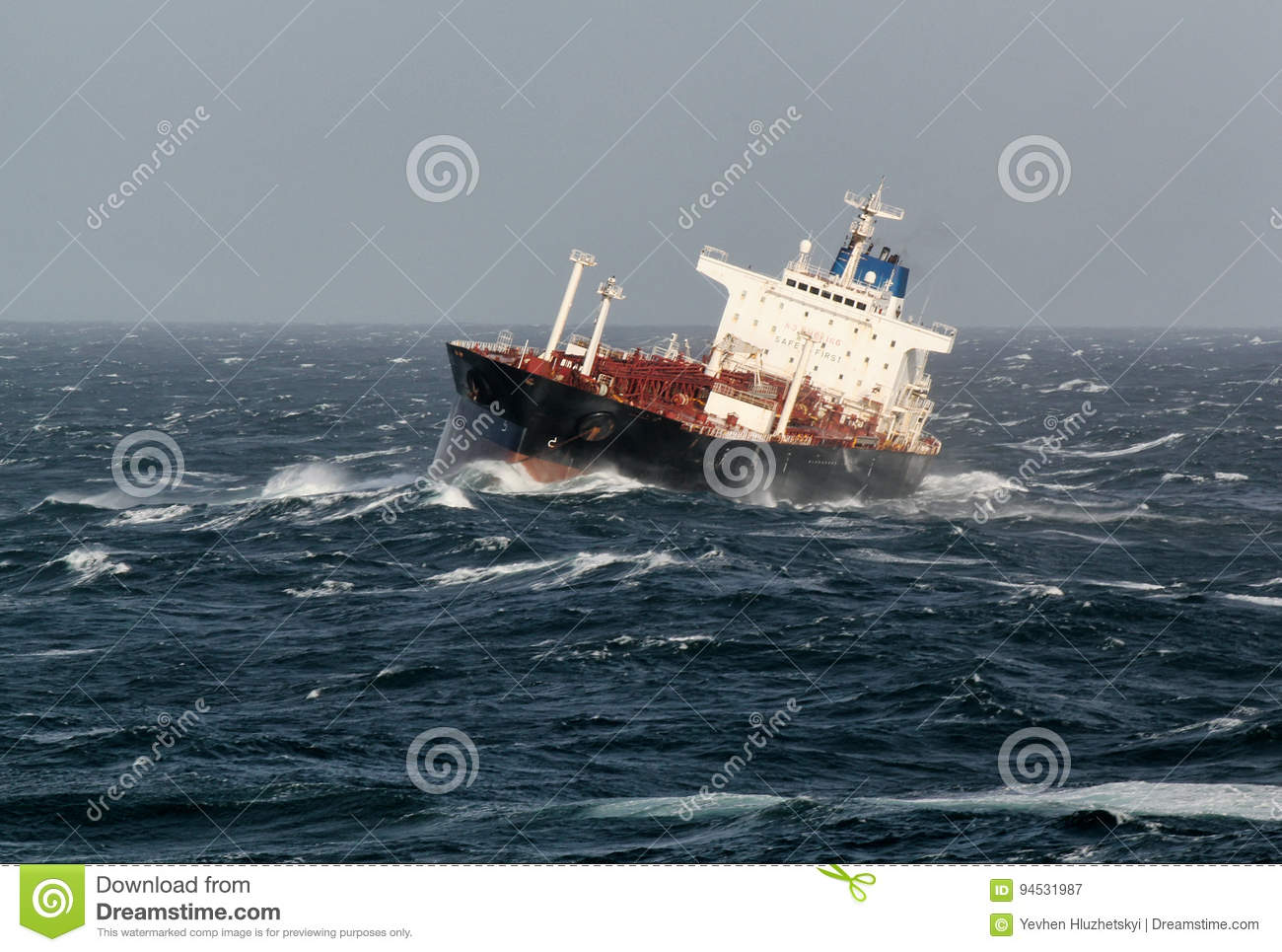 Vessel At Anchor In Storm Weather Stock Image - Image of