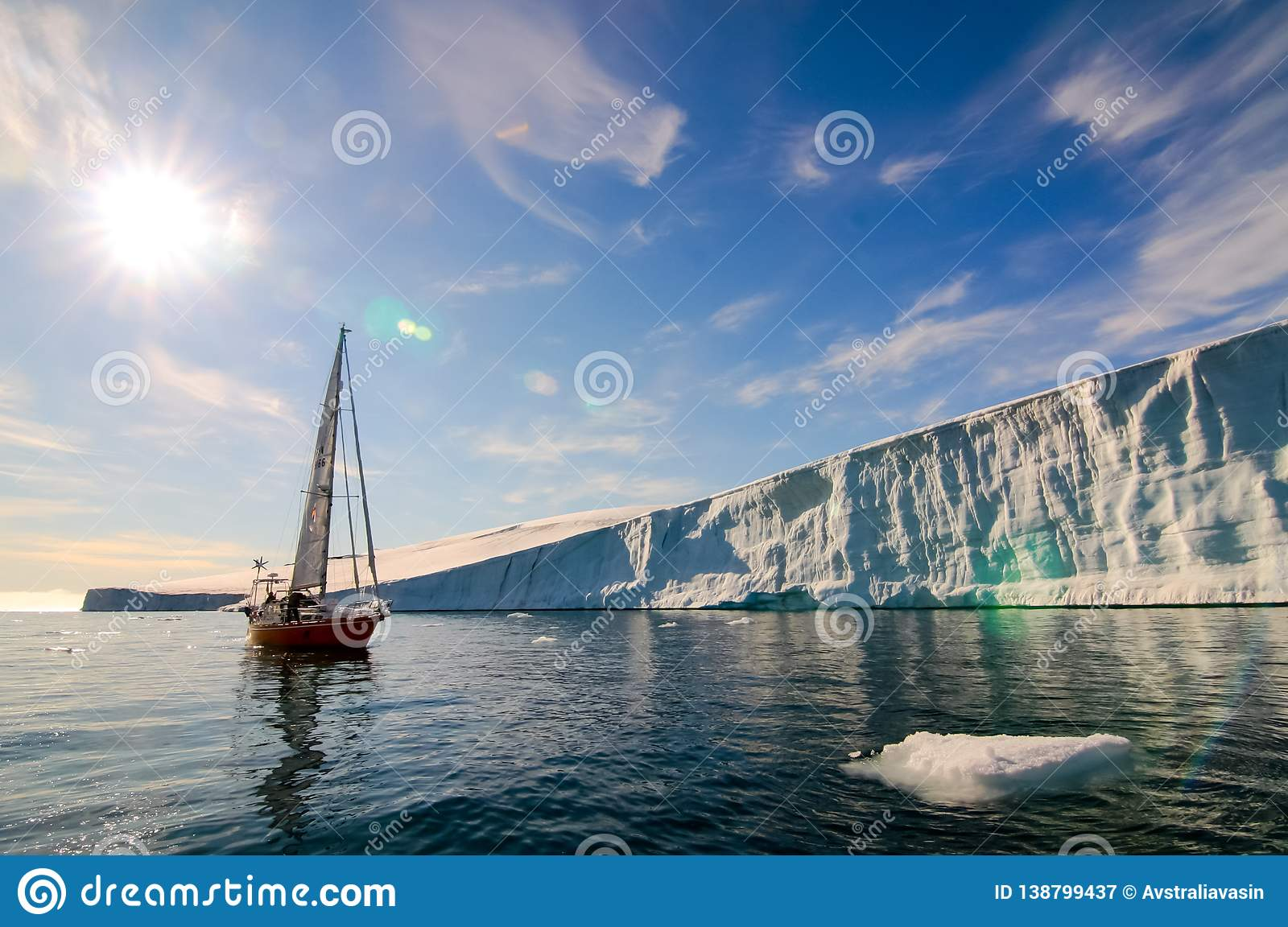 Vessel of the Arctic expedition in the waters of the Arctic Ocean