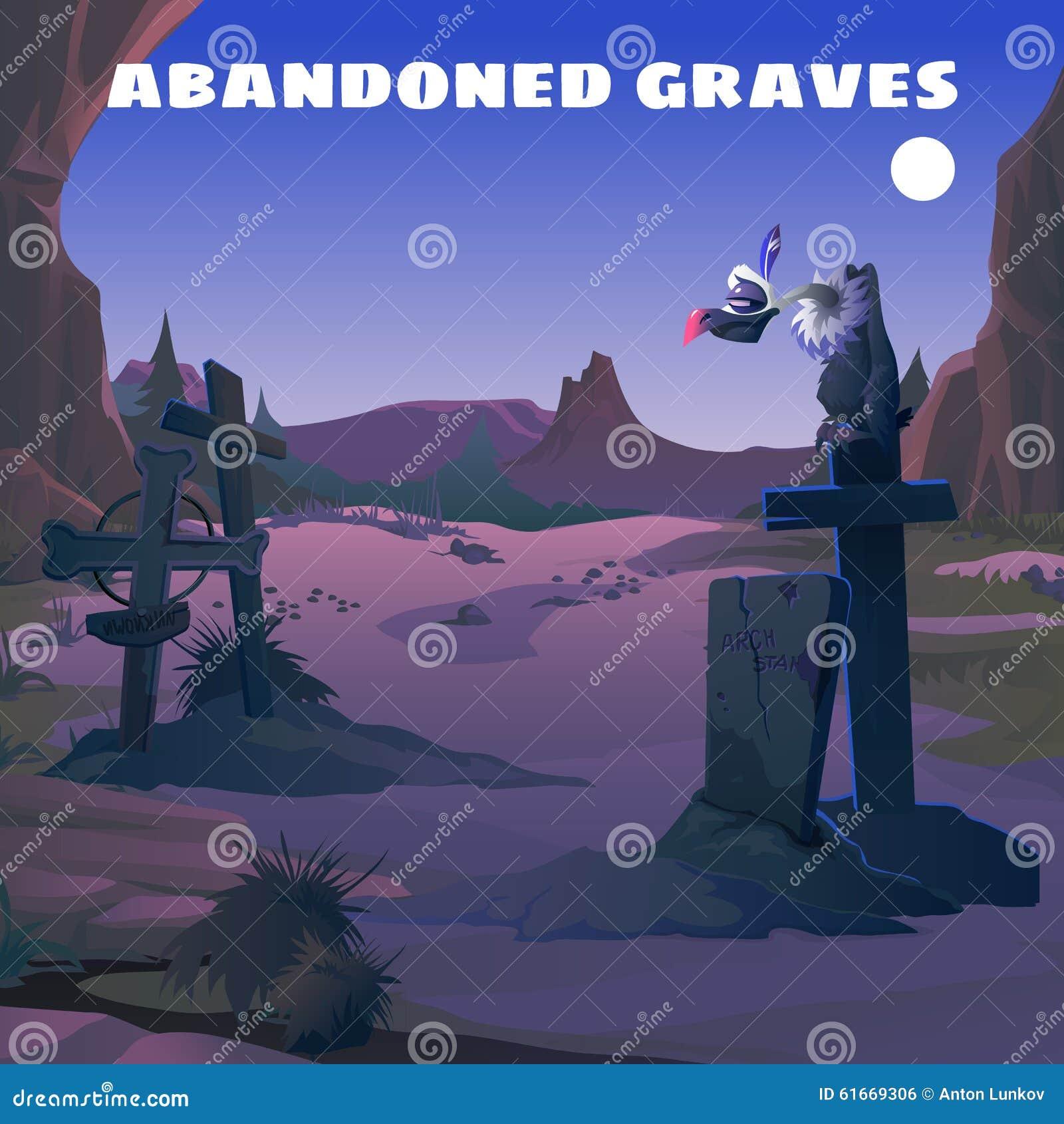 Vestern, buitre en un cementerio abandonado en la noche