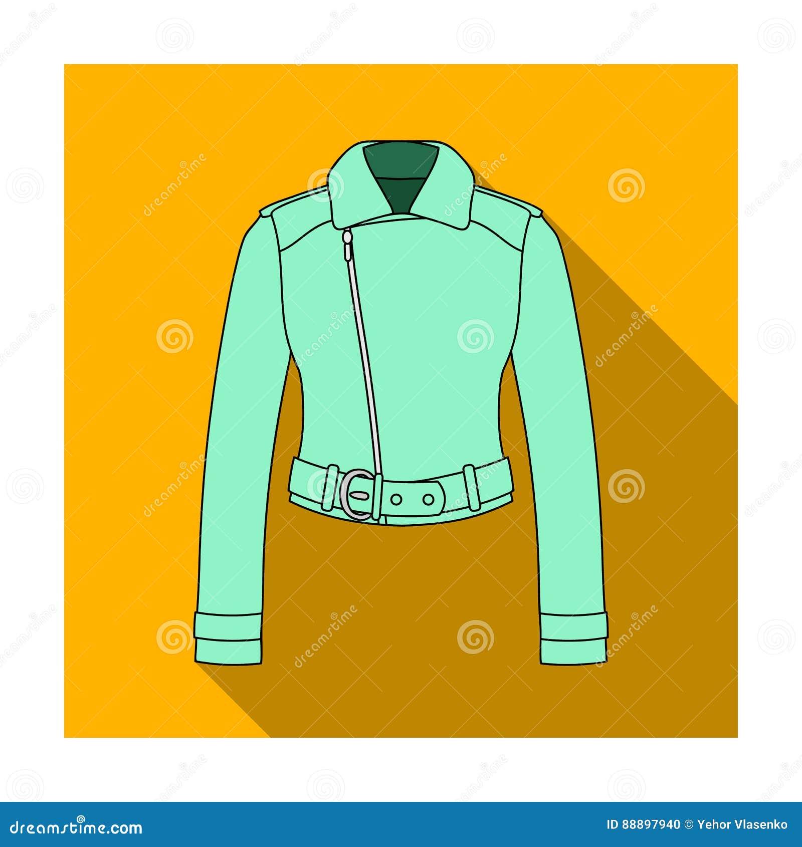 Vestes en cuir courtes de la jeunesse pour les femmes sûres Icône simple d habillement de femmes en stock plat de symbole de vect