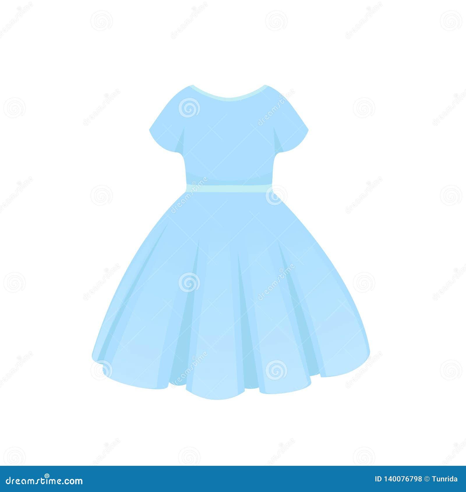 Vestido Azul Del Verano Aislado En El Fondo Blanco