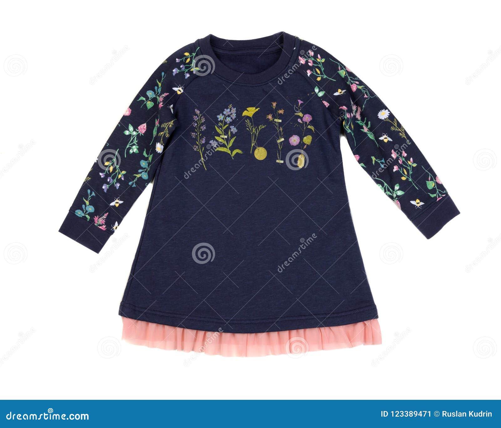2080e6160d84 Vestido Azul Do Bebê Do Algodão Isolado No Branco Imagem de Stock ...