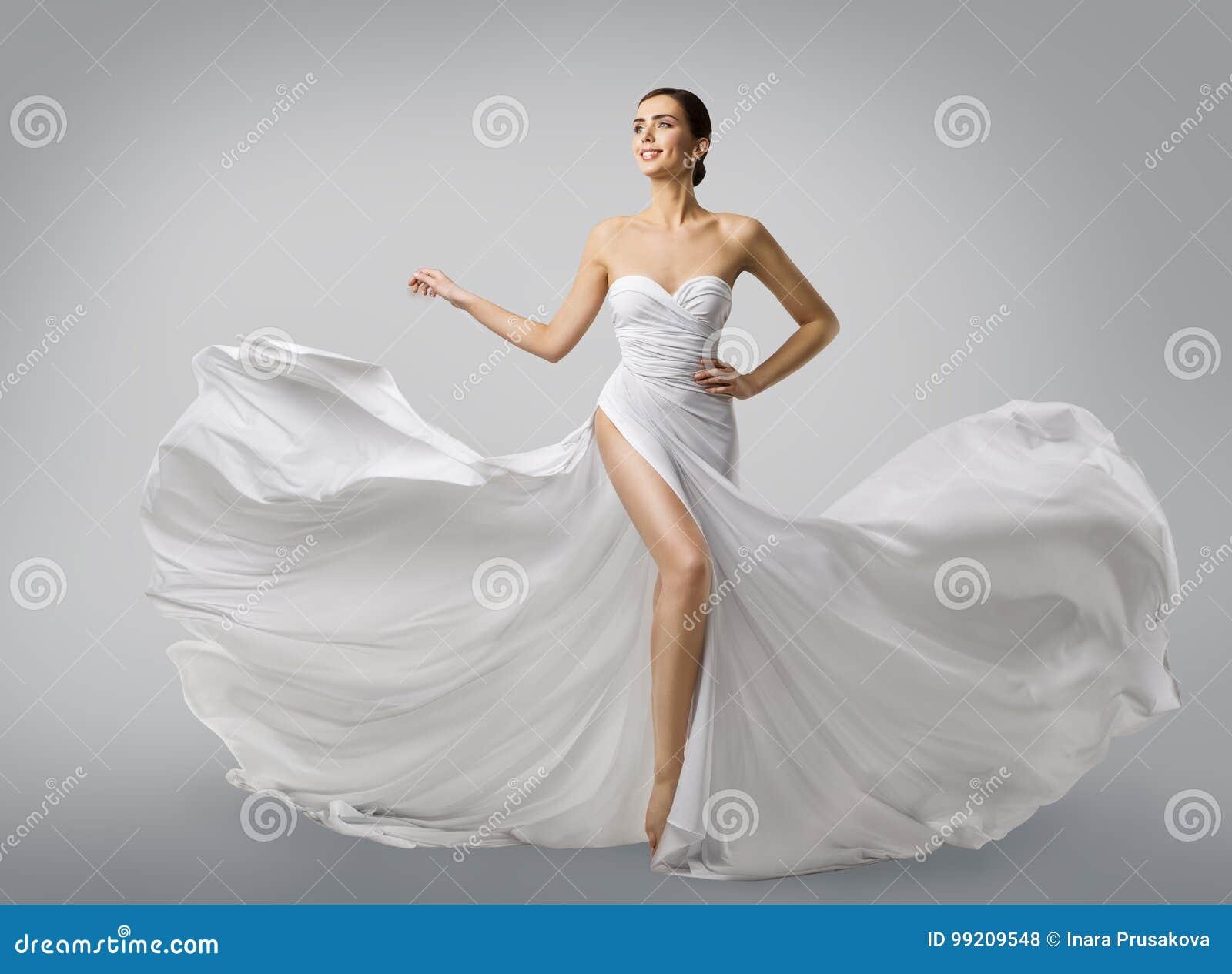 Vestido branco da mulher, modelo de forma Bride no vestido de casamento de seda longo