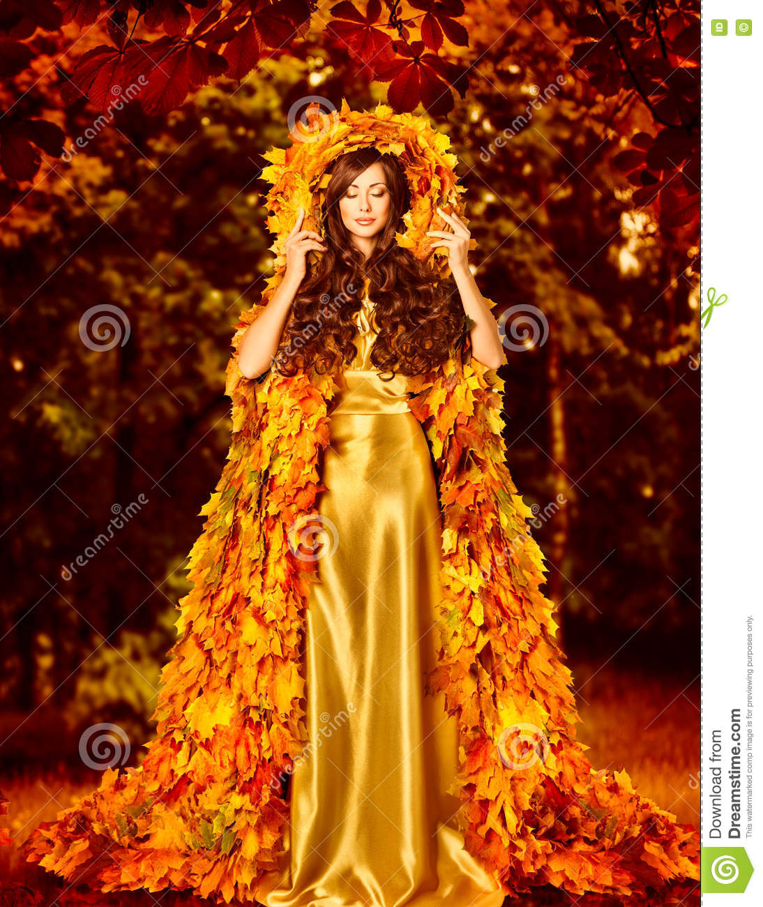 Vestido de Autumn Fashion Woman Fall Leaves, capa al aire libre de la hoja