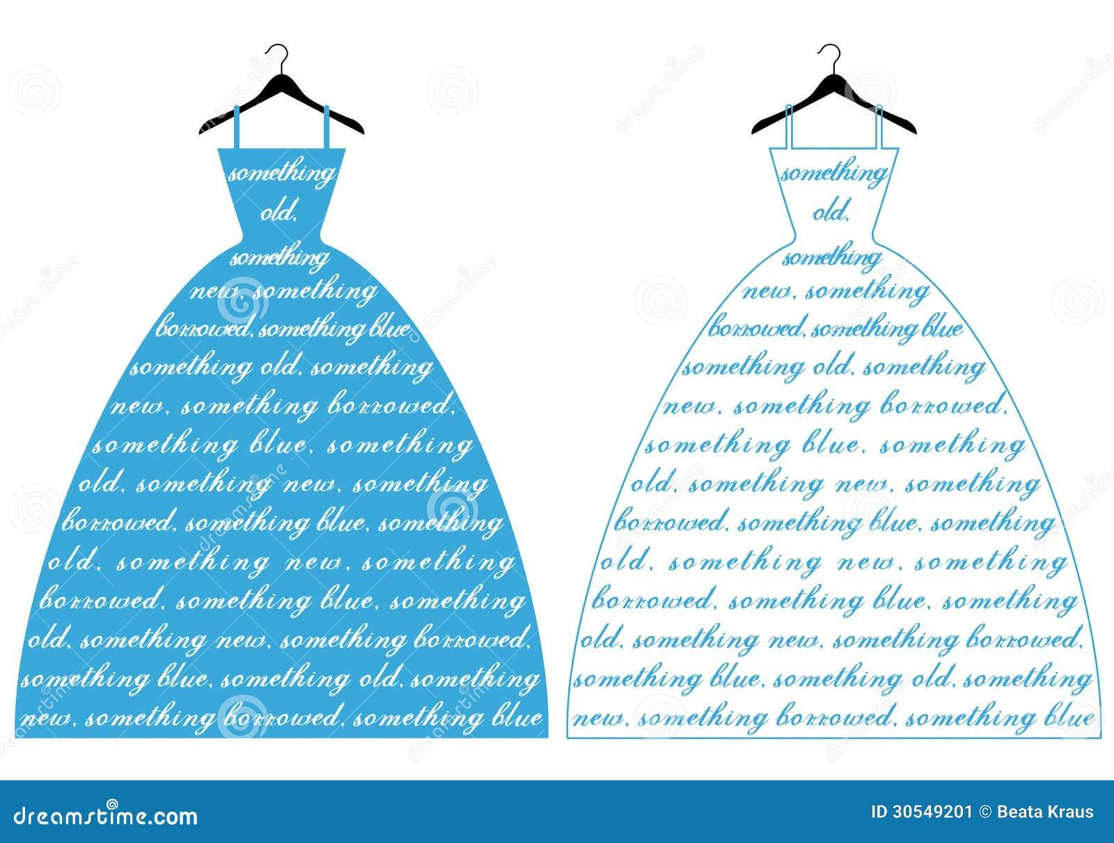 Vestido de casamento com texto algo azul, ilustração do vetor.