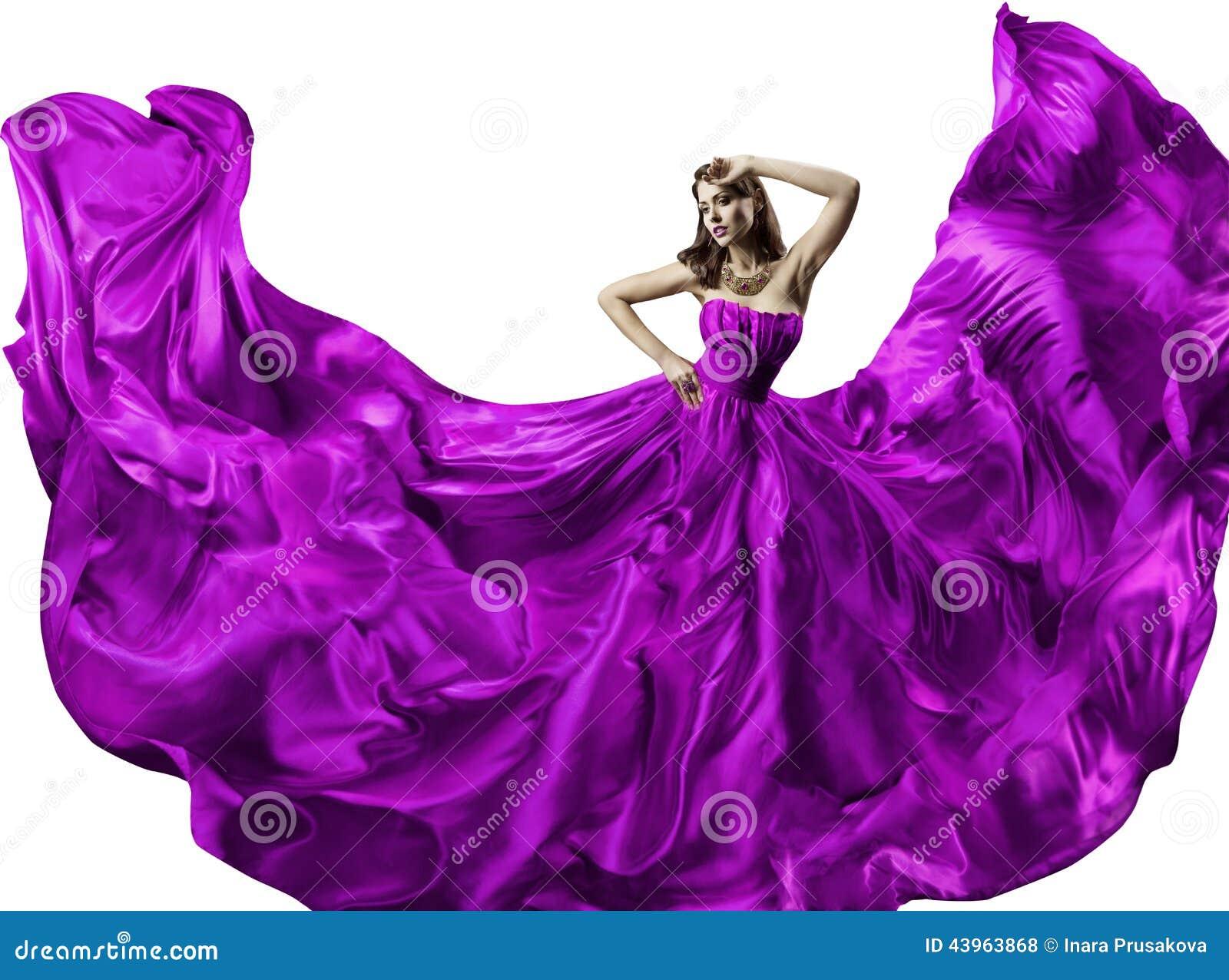 Vestido de seda da mulher, retrato da forma da beleza, vestido de vibração longo