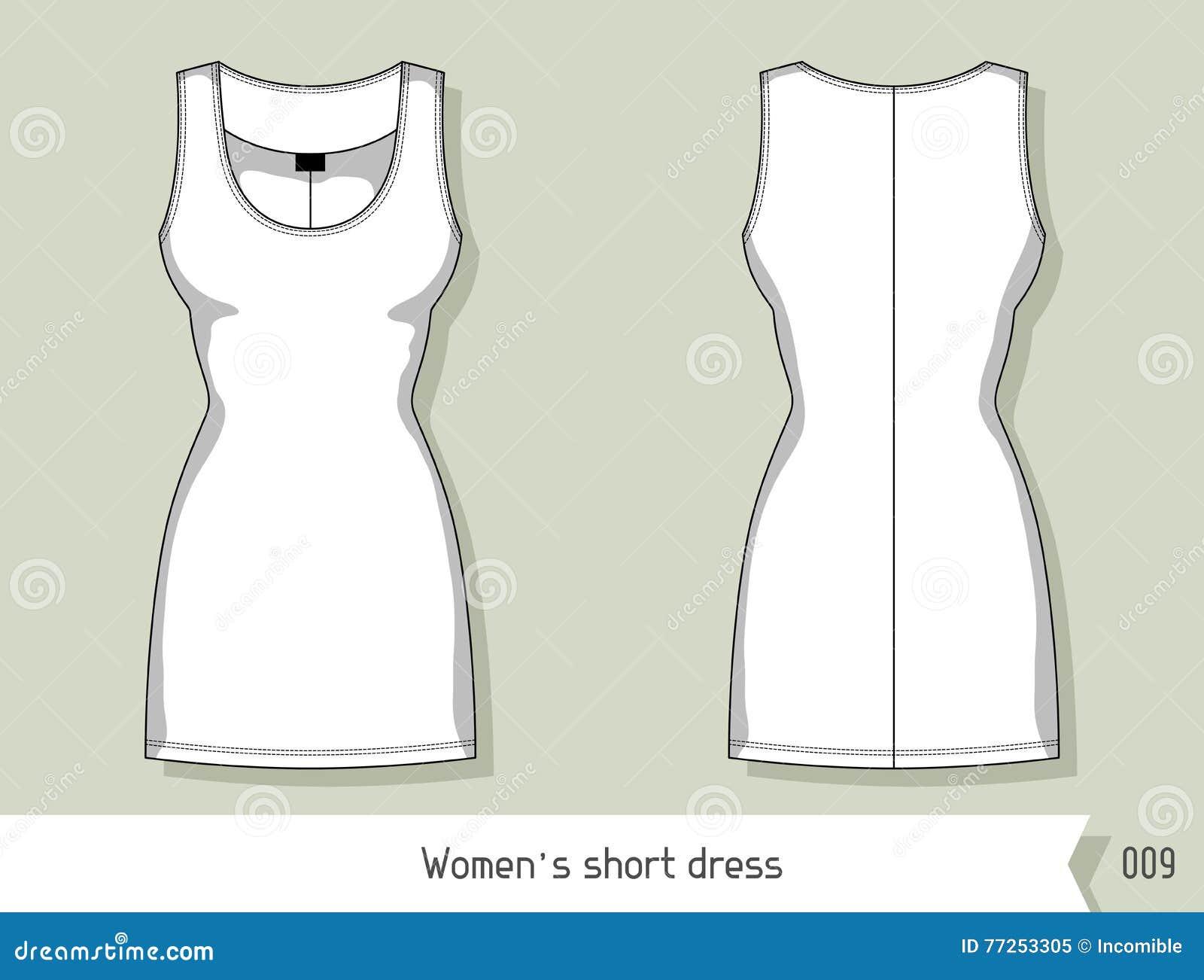 Vestido Del Cortocircuito De Las Mujeres Plantilla Para El Diseño ...