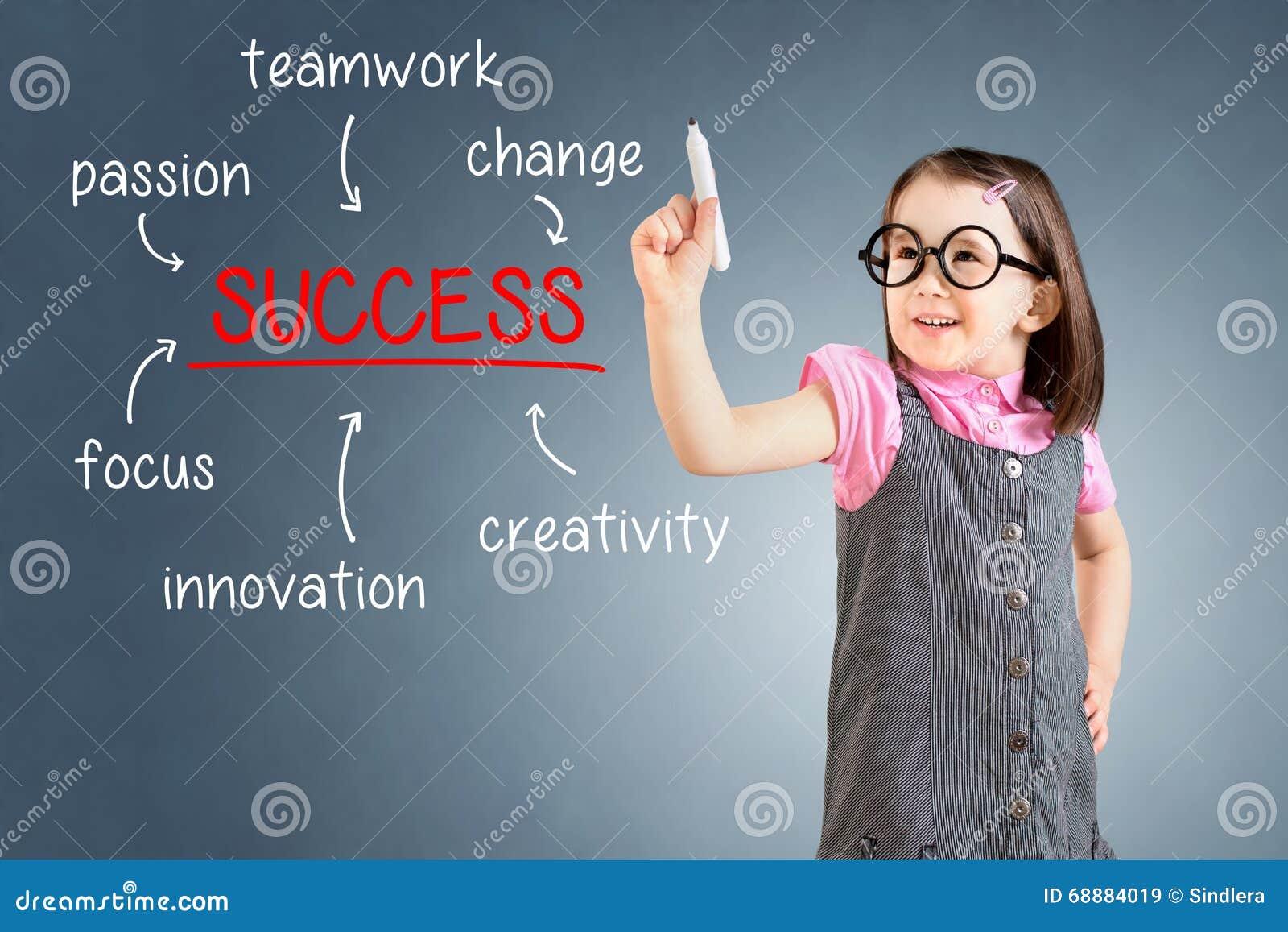 Vestido del negocio de la niña que lleva linda y escritura del diagrama del éxito en el tablero de cristal con el marcador Fondo