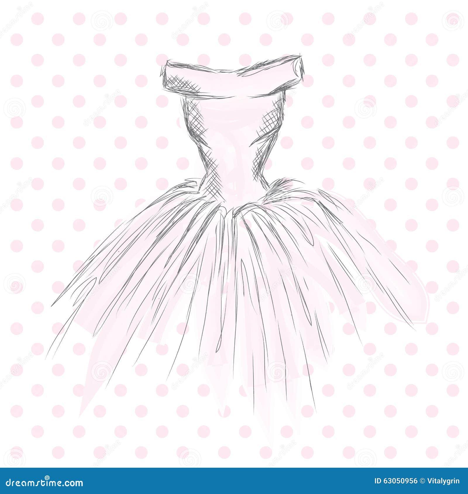 Vestido En El Vector Ropa Del Dibujo De La Mano Vendimia