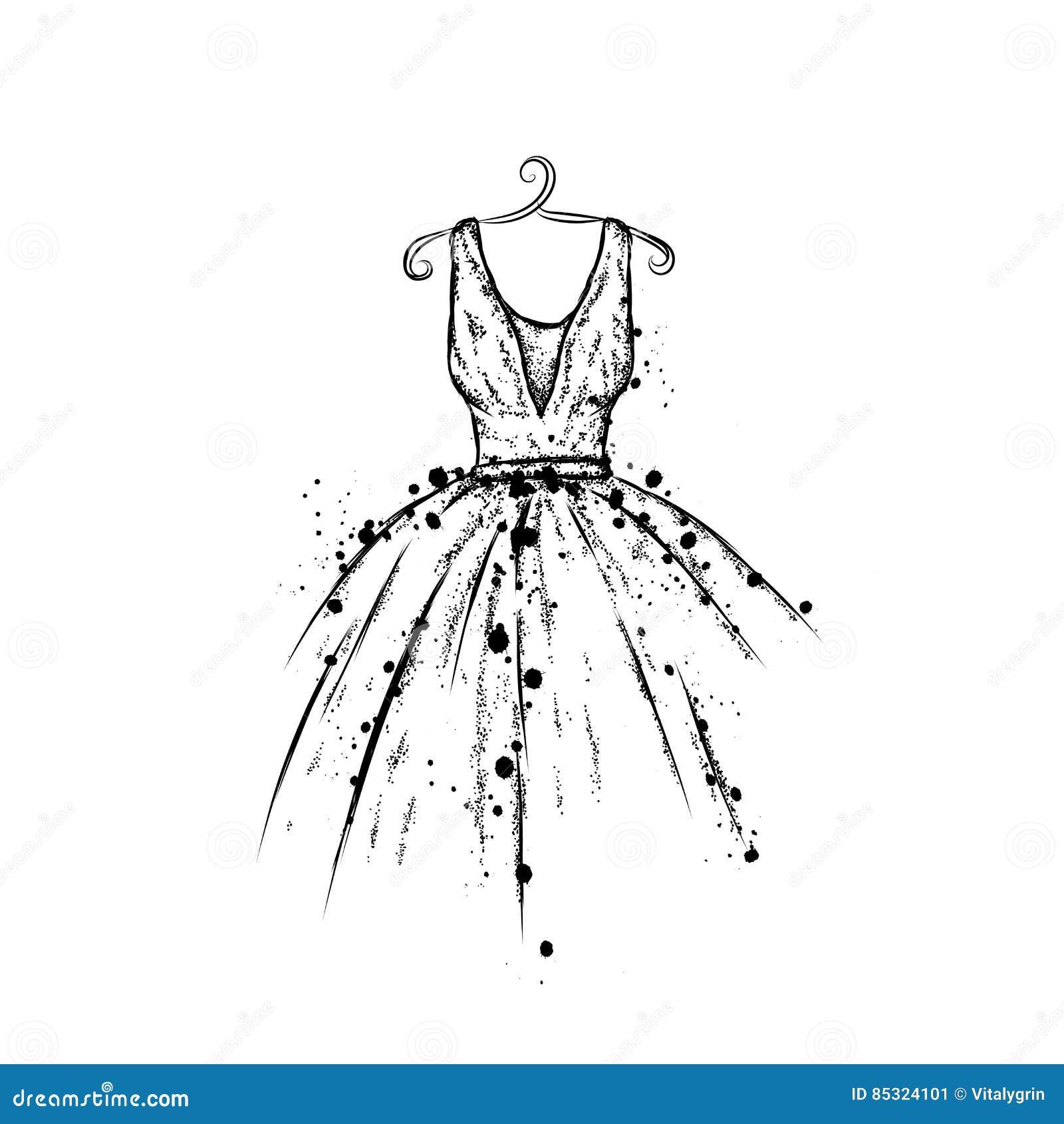 Vestido No Vetor Roupa Do Desenho Da Mão Vintage Forma