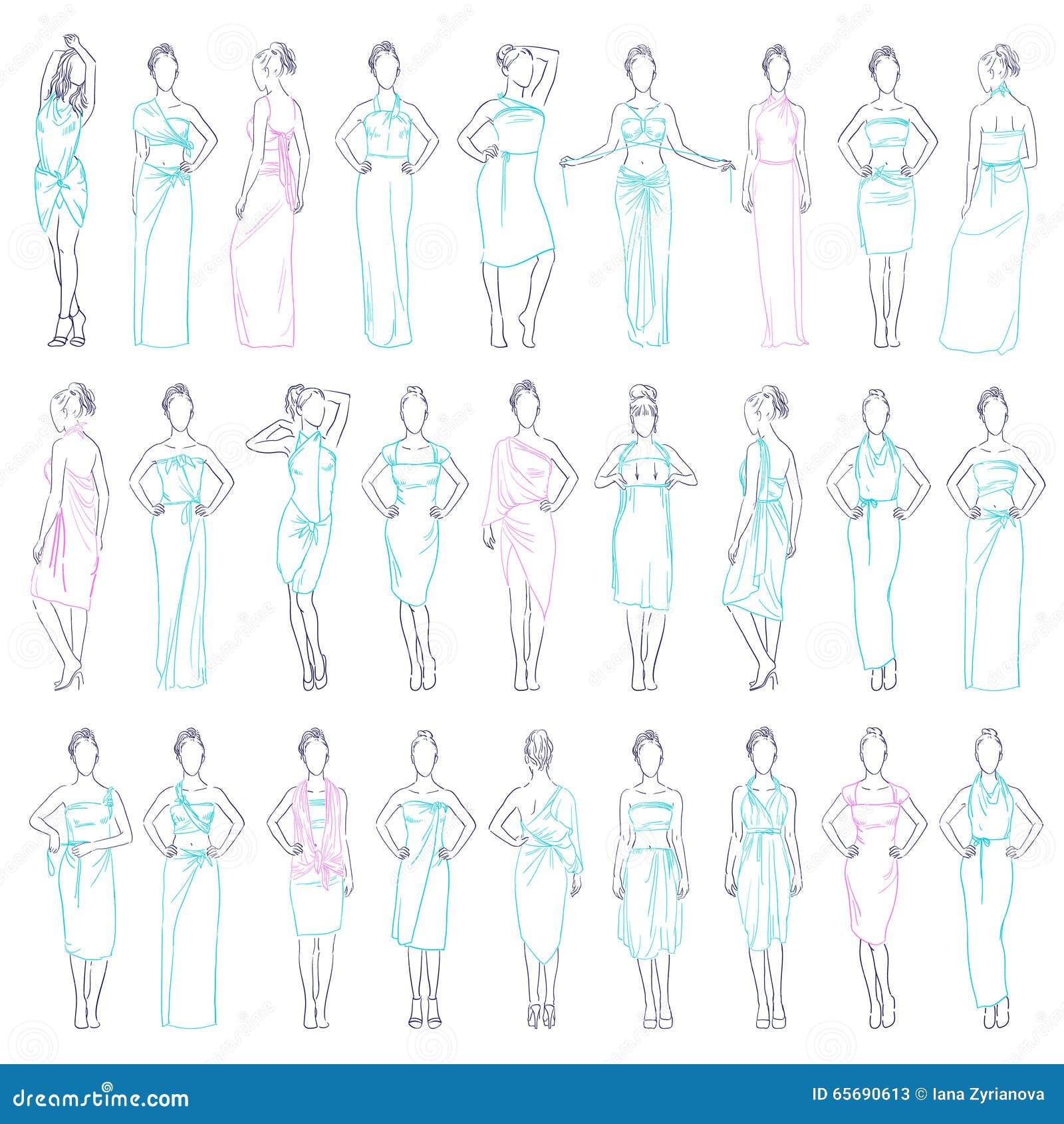 Vestiti da sera dell illustrazione di vettore i vari messi e l abbigliamento casual fiancheggiano le prendisole modellano nello s