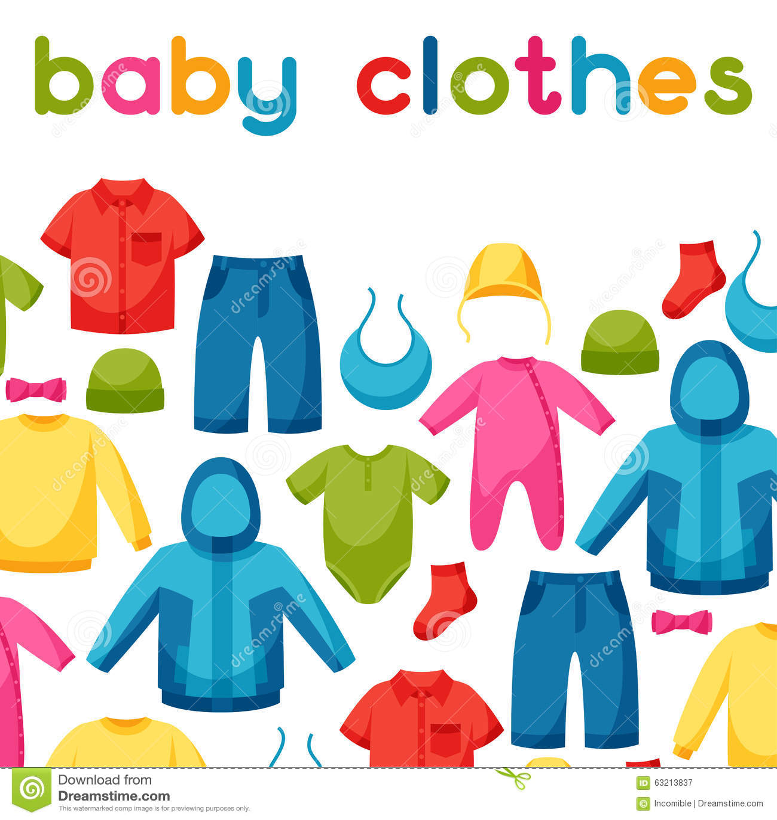 Vestiti Del Bambino Fondo Con Gli Elementi Dell abbigliamento Per ... 07c6f0580c2