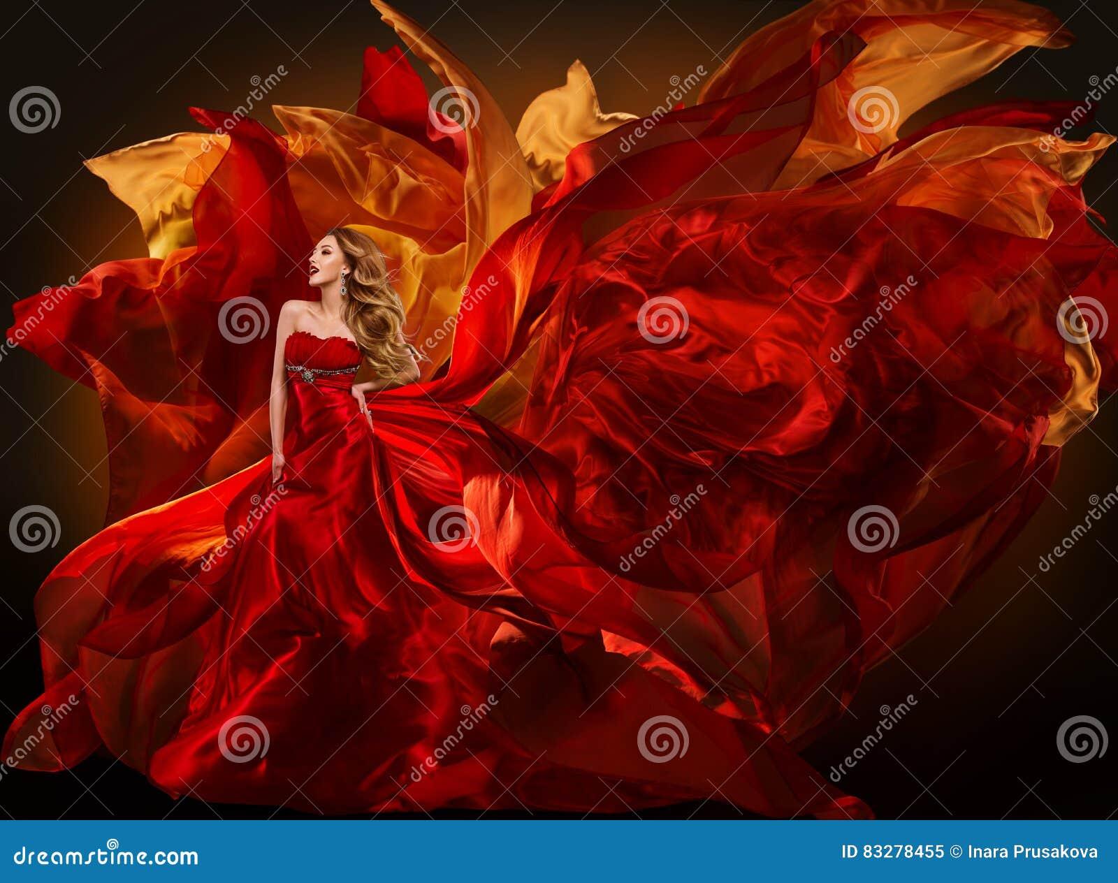 Vestito da modo della donna che pilota tessuto rosso, panno di seta d ondeggiamento della ragazza