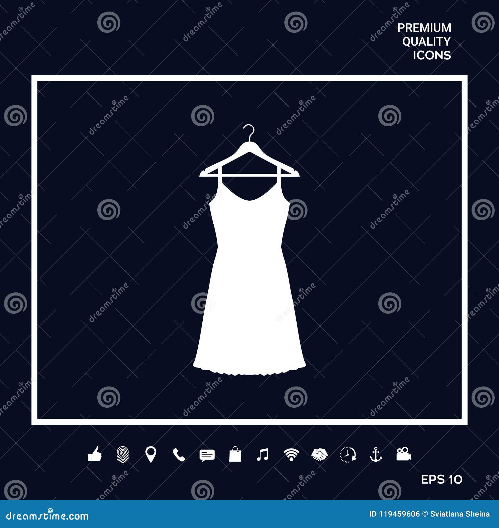 Vestito da sera, da prendisole, combinazione o camicia da notte sul gancio del guardaroba, la siluetta Voce di menu nel web desig