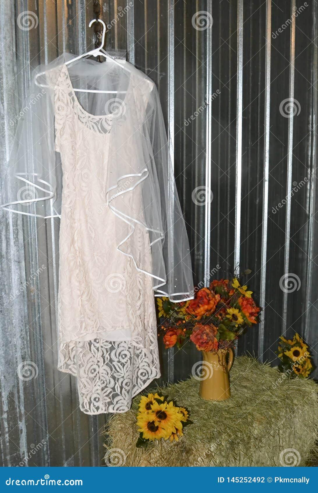 Vestito da sposa rosa nella regolazione rustica