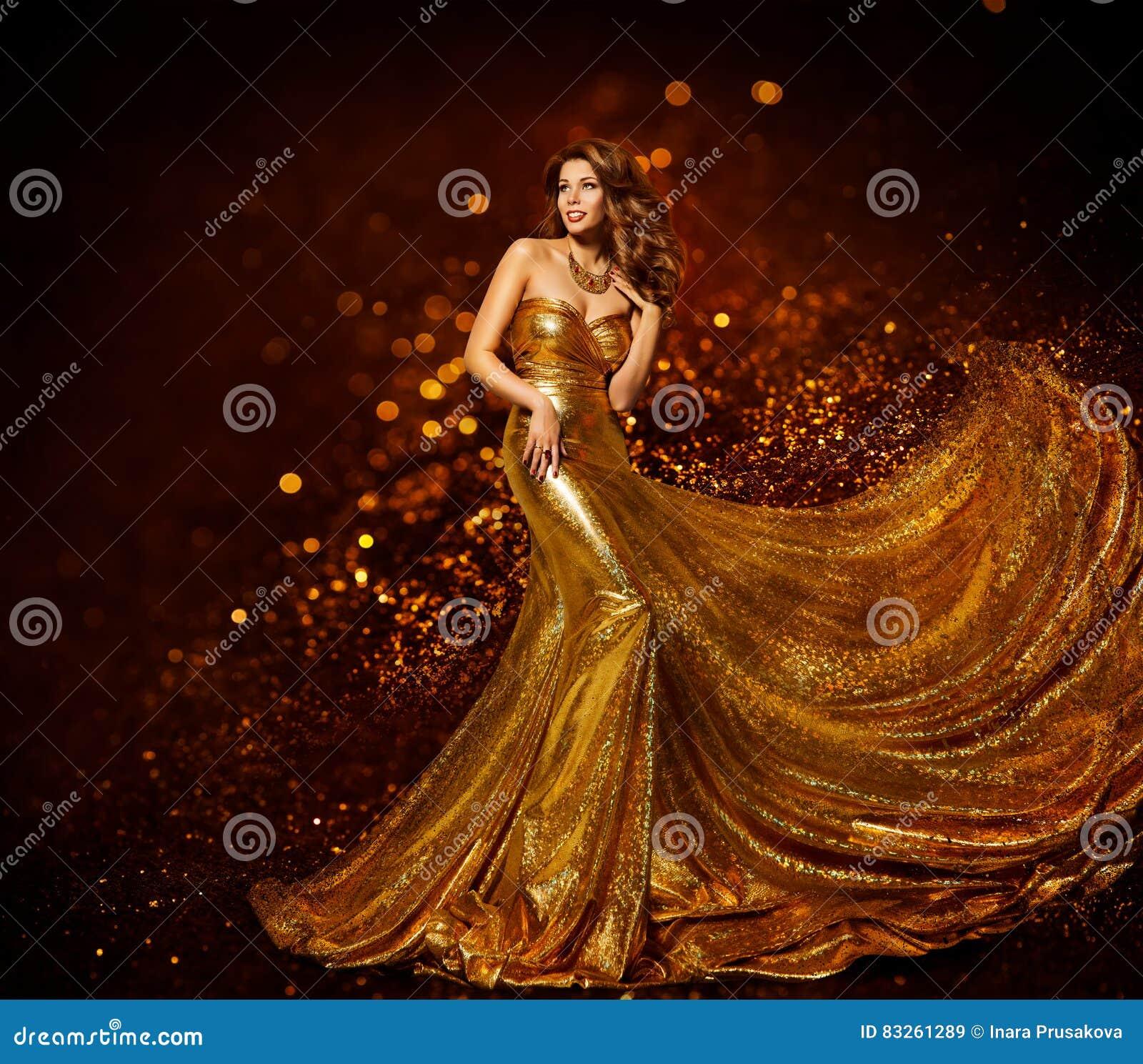 Vestito dall oro della donna di modo, abito dorato elegante del tessuto della ragazza di lusso
