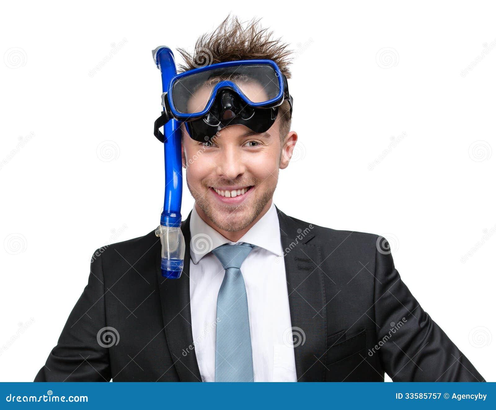 Vestito ed occhiali di protezione d uso dell uomo d affari