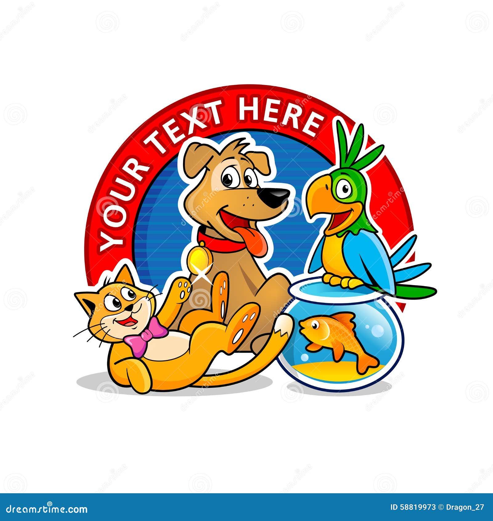 Vet Clinic Logo Template. Cartoon Animals Vector. Stock Vector - Image ...