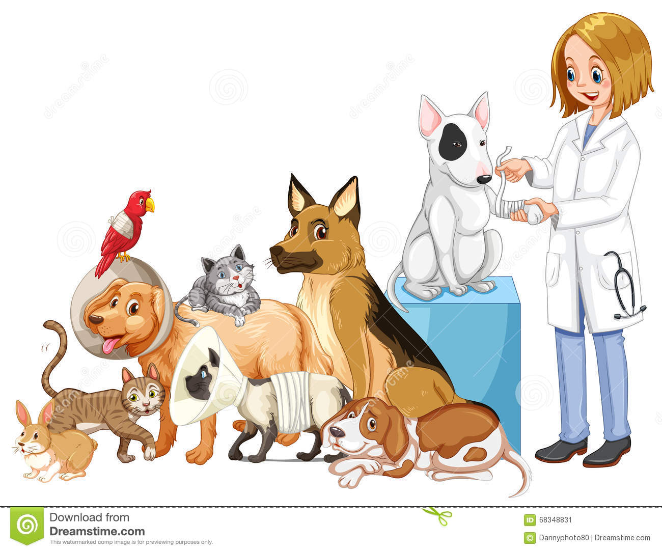 vet and many injured animals stock vector illustration dog and cat clip art free watercolors dog and cat clip art images free