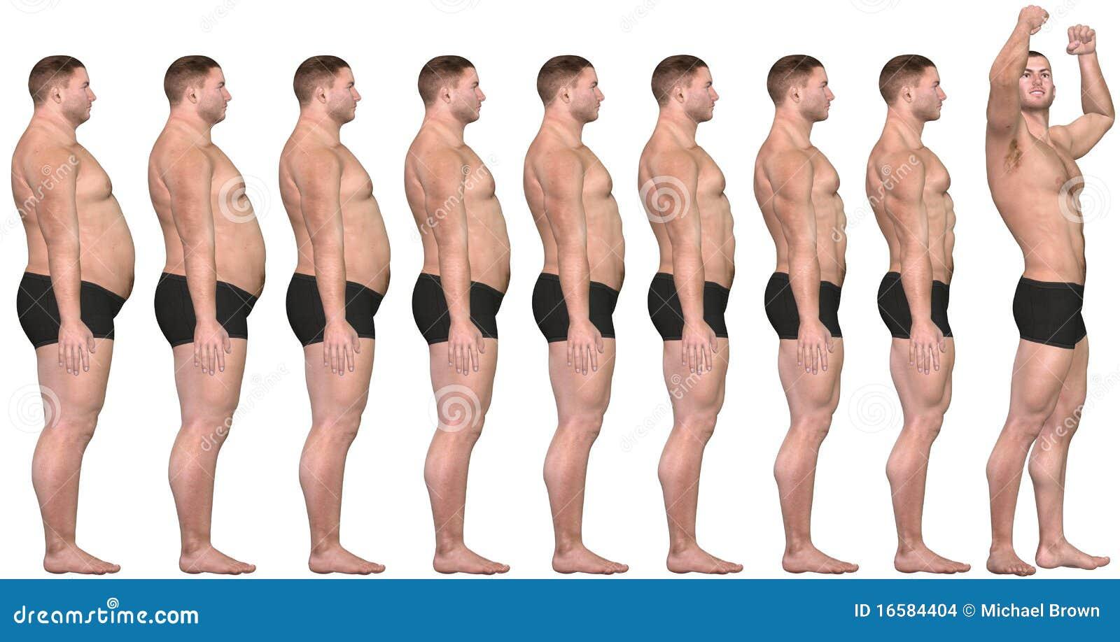 Vet voordien na 3D Succes van het Verlies van het Gewicht van de Mens Te passen