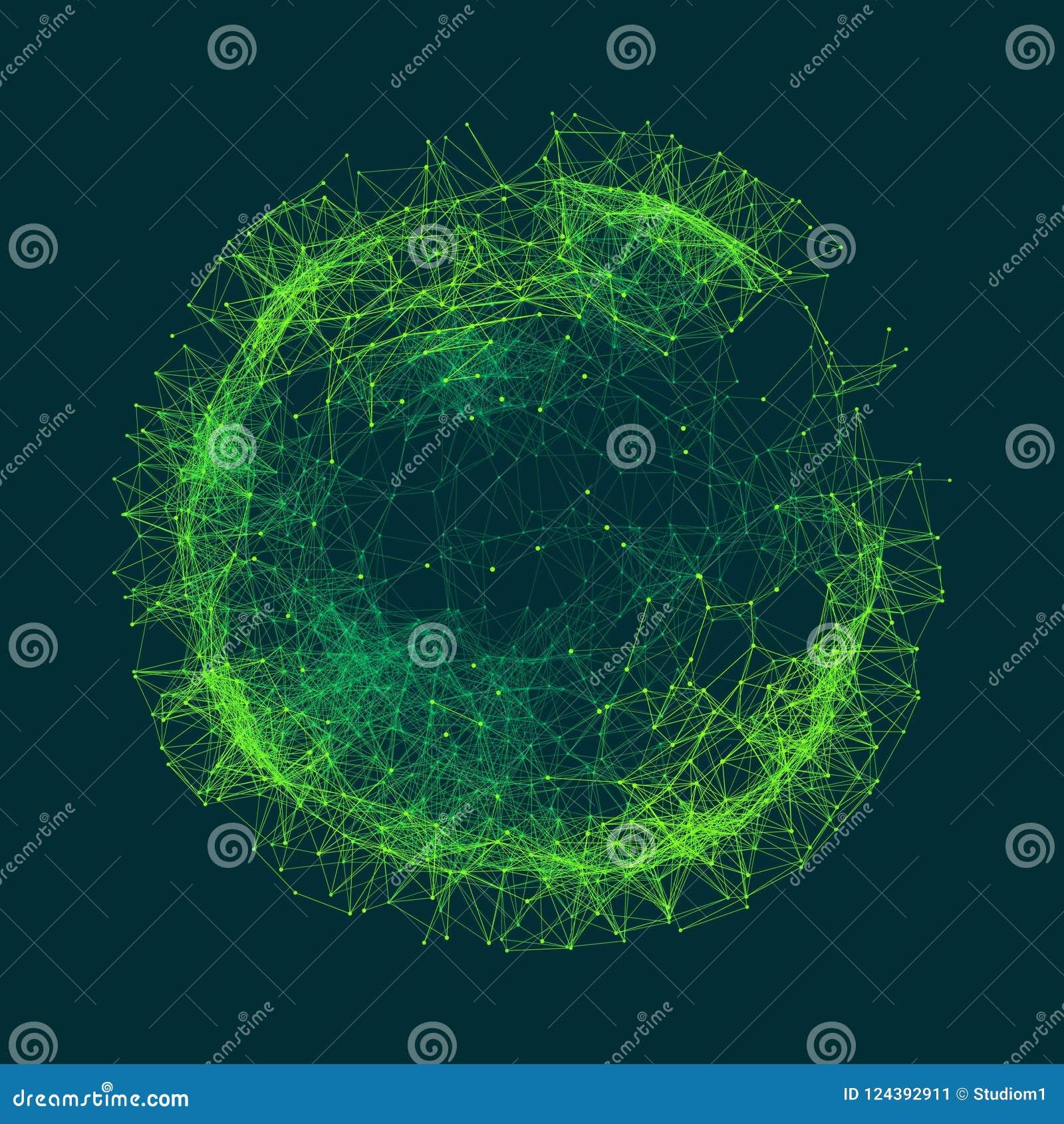 Vetenskaplig illustration med förbindelselinjer och prickar Lysande mikroskopiska former Glödande raster Anslutningsstruktur
