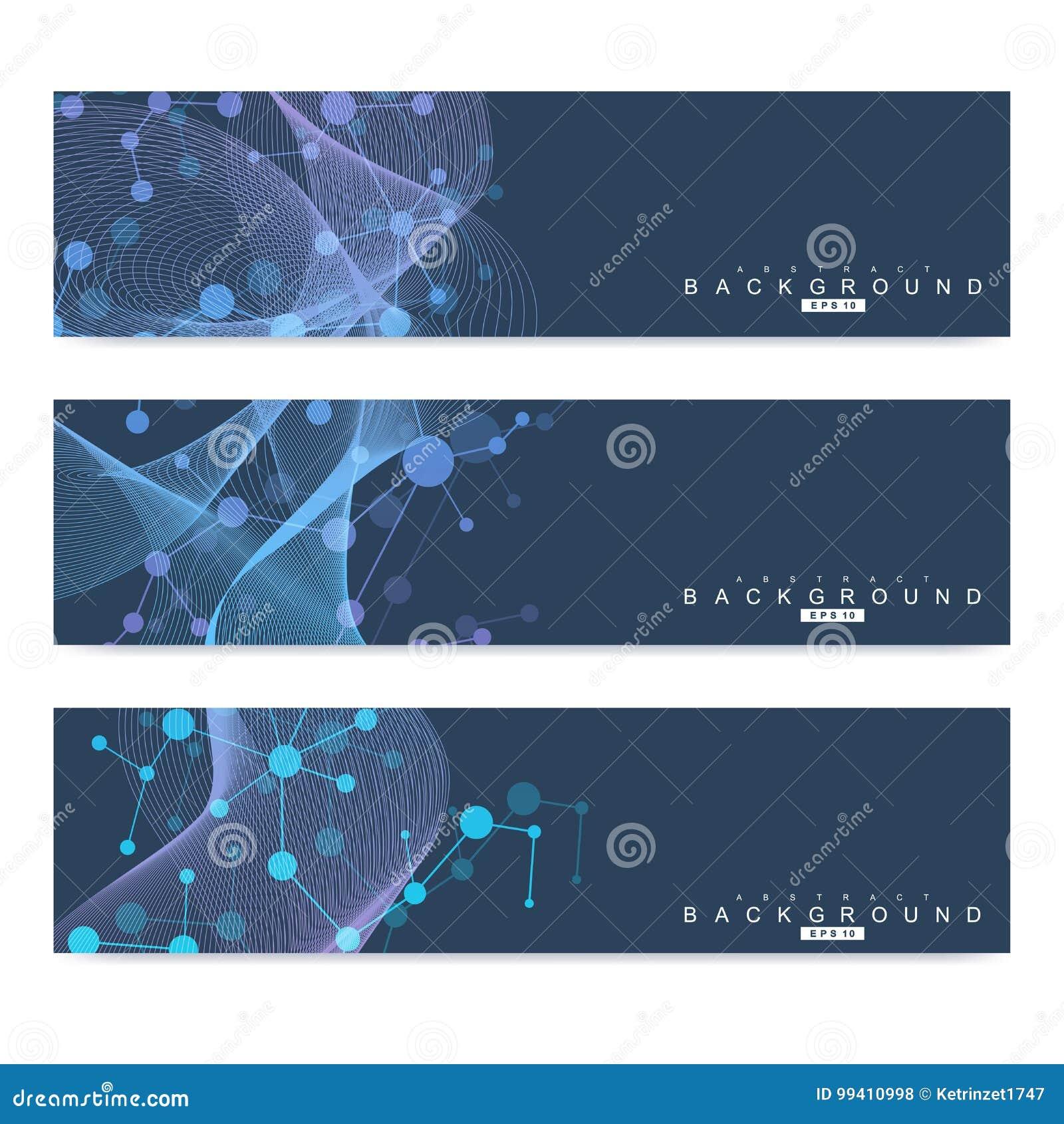 Vetenskaplig uppsättning av moderna vektorbaner DNAmolekylstruktur med förbindelselinjer och prickar Vetenskapsvektorbakgrund
