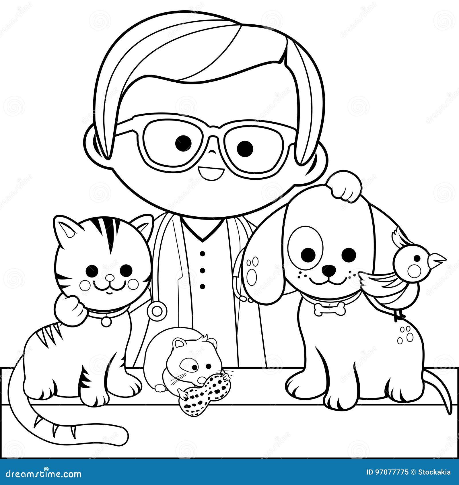 Veterinario E Animais De Estimacao Pagina Do Livro Para Colorir