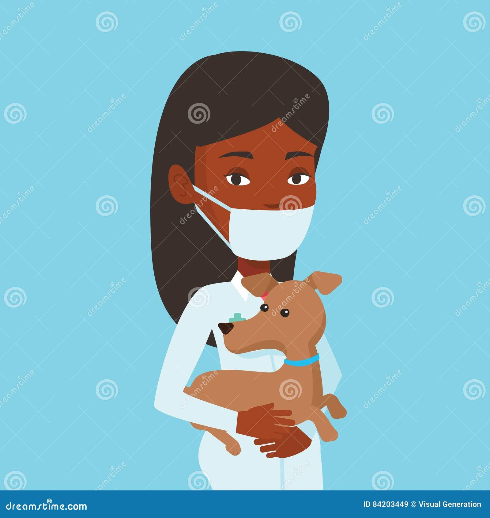 Veterinär med hunden i handvektorillustration