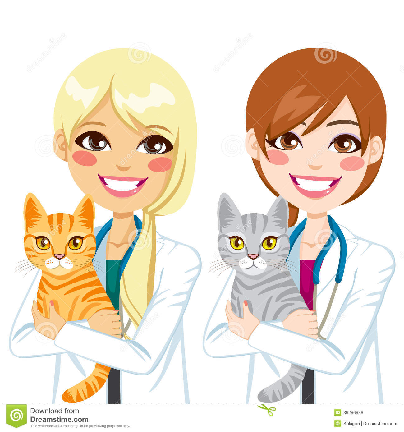 Veterinarian Hugging Cat Stock Vector Image 39296936