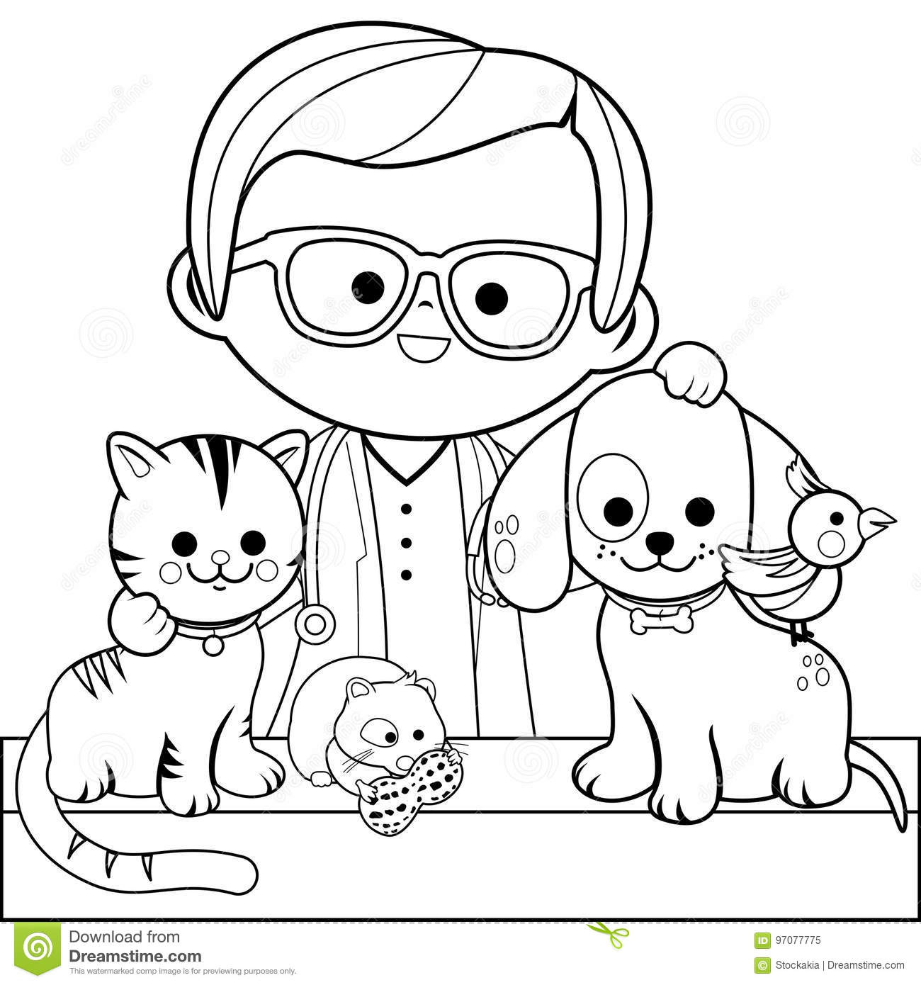 Veterinarian And Pets Coloring Book Page Stock Vector - Bird-coloring-book