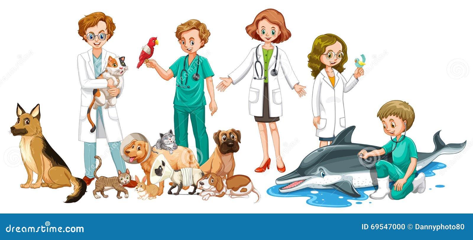 Veterinarios Y Muchos Animales Ilustración Del Vector