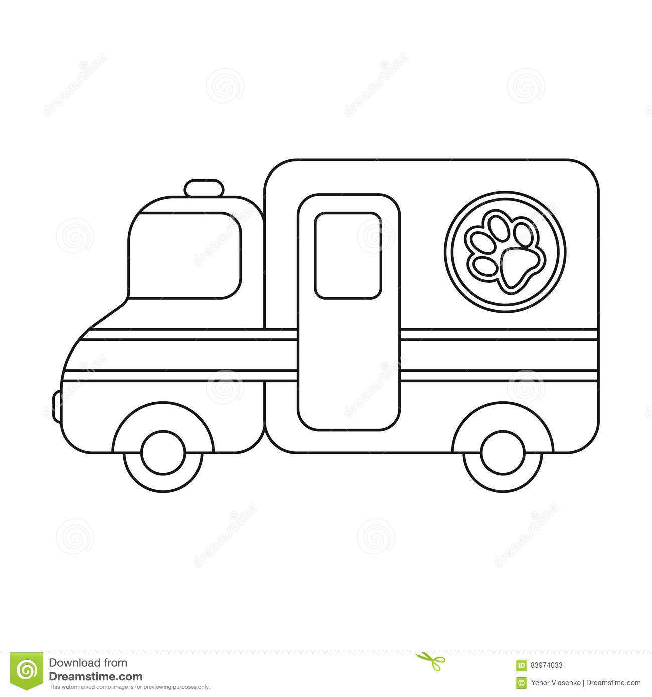 Veterinary Ambulance Icon In Black Style Isolated On White