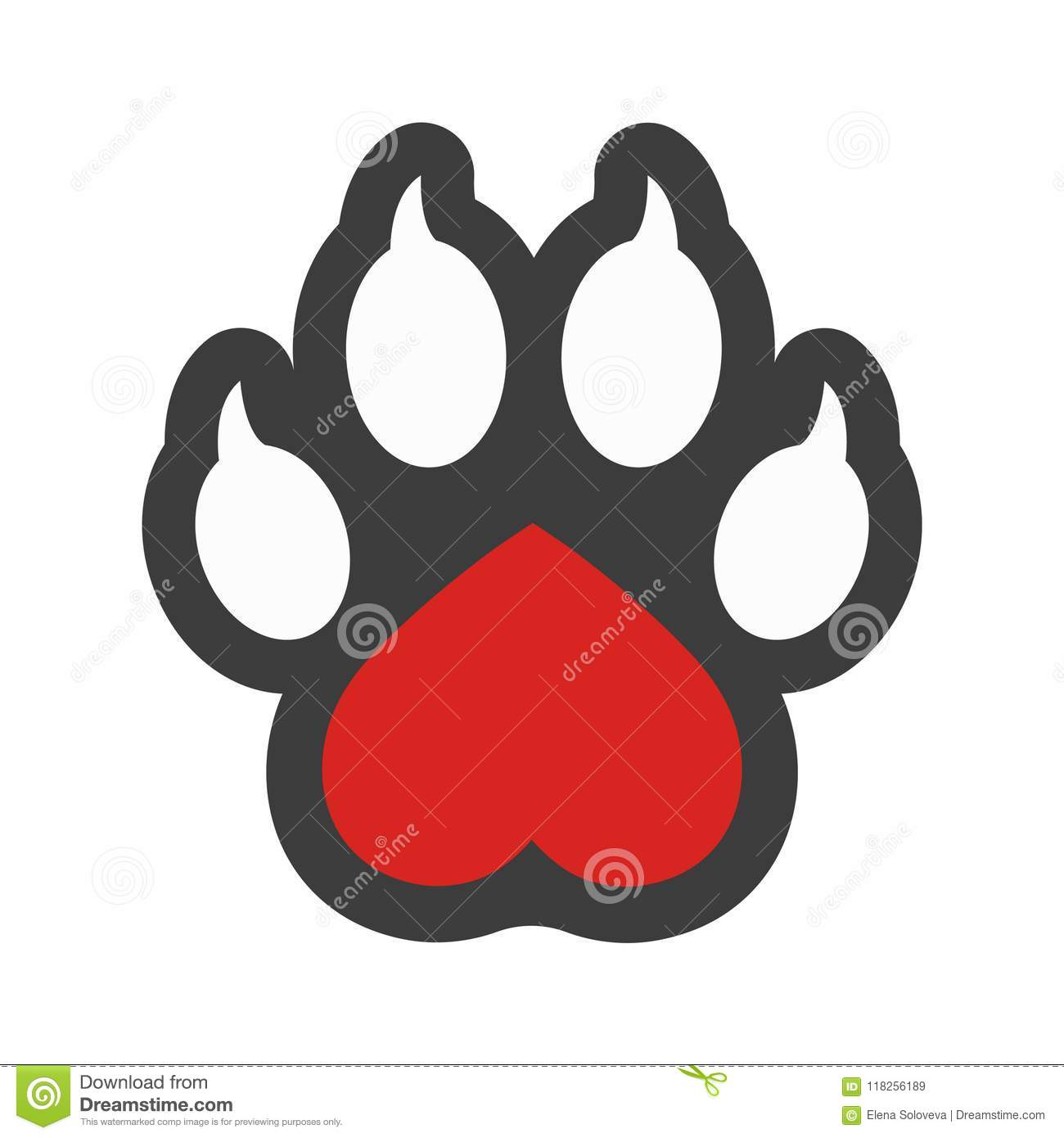 Veterinary Clinic Isolated Vector Logo Heart And Dog Paw Print