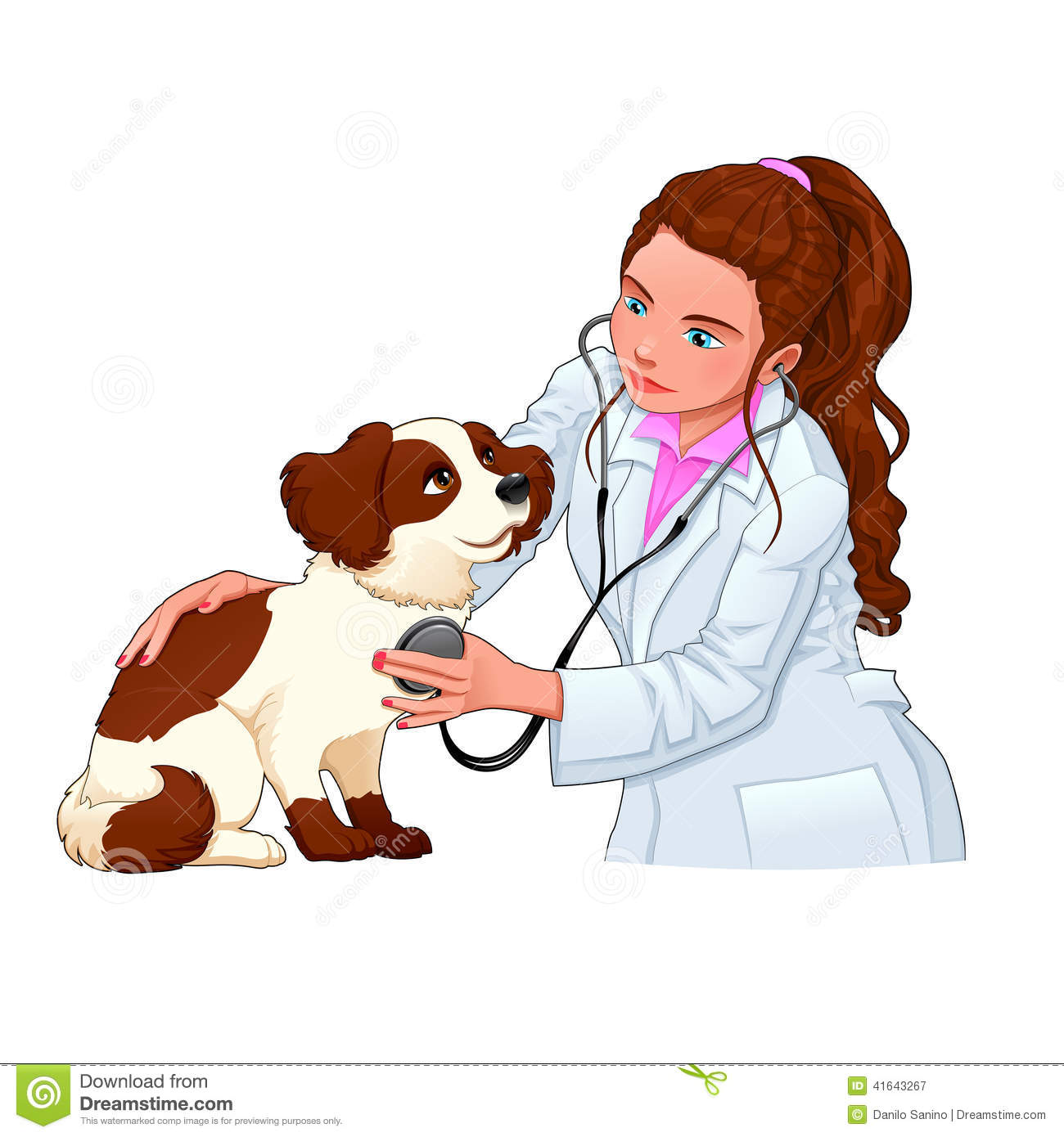 Veterinary With Dog. Stock Vector - Image: 41643267