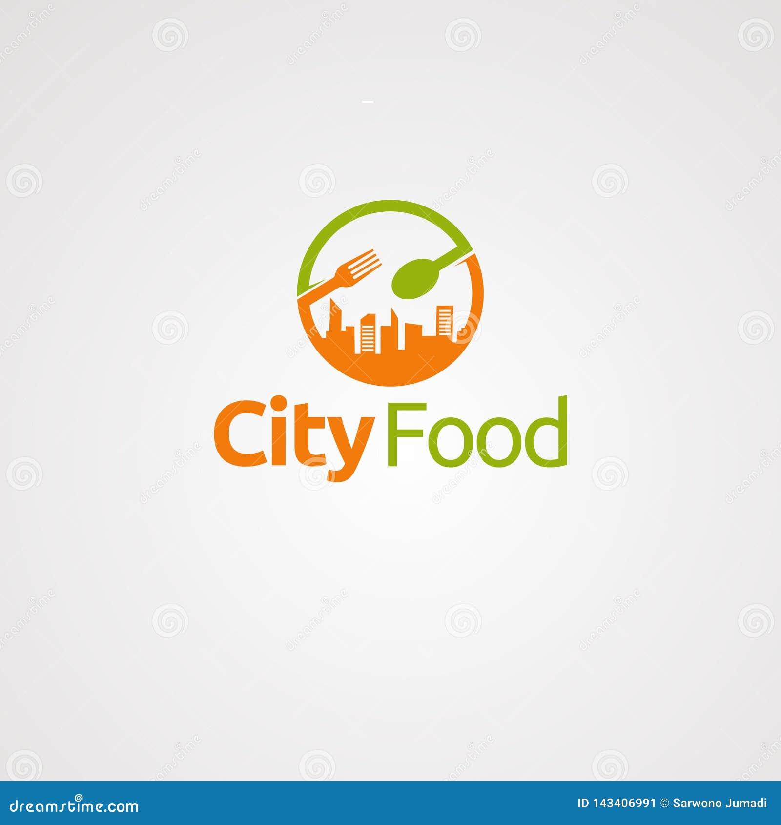Vetor, ícone, elemento, e molde do logotipo do alimento da cidade para a empresa