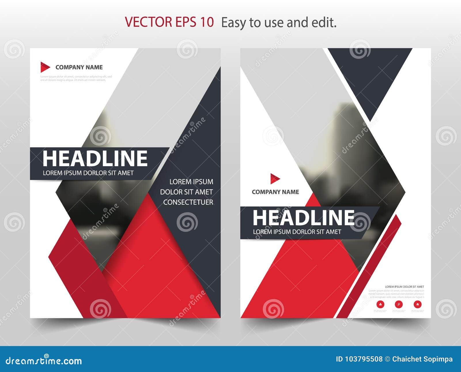 Vetor abstrato vermelho do molde do projeto do informe anual do folheto do triângulo Cartaz infographic do compartimento dos inse